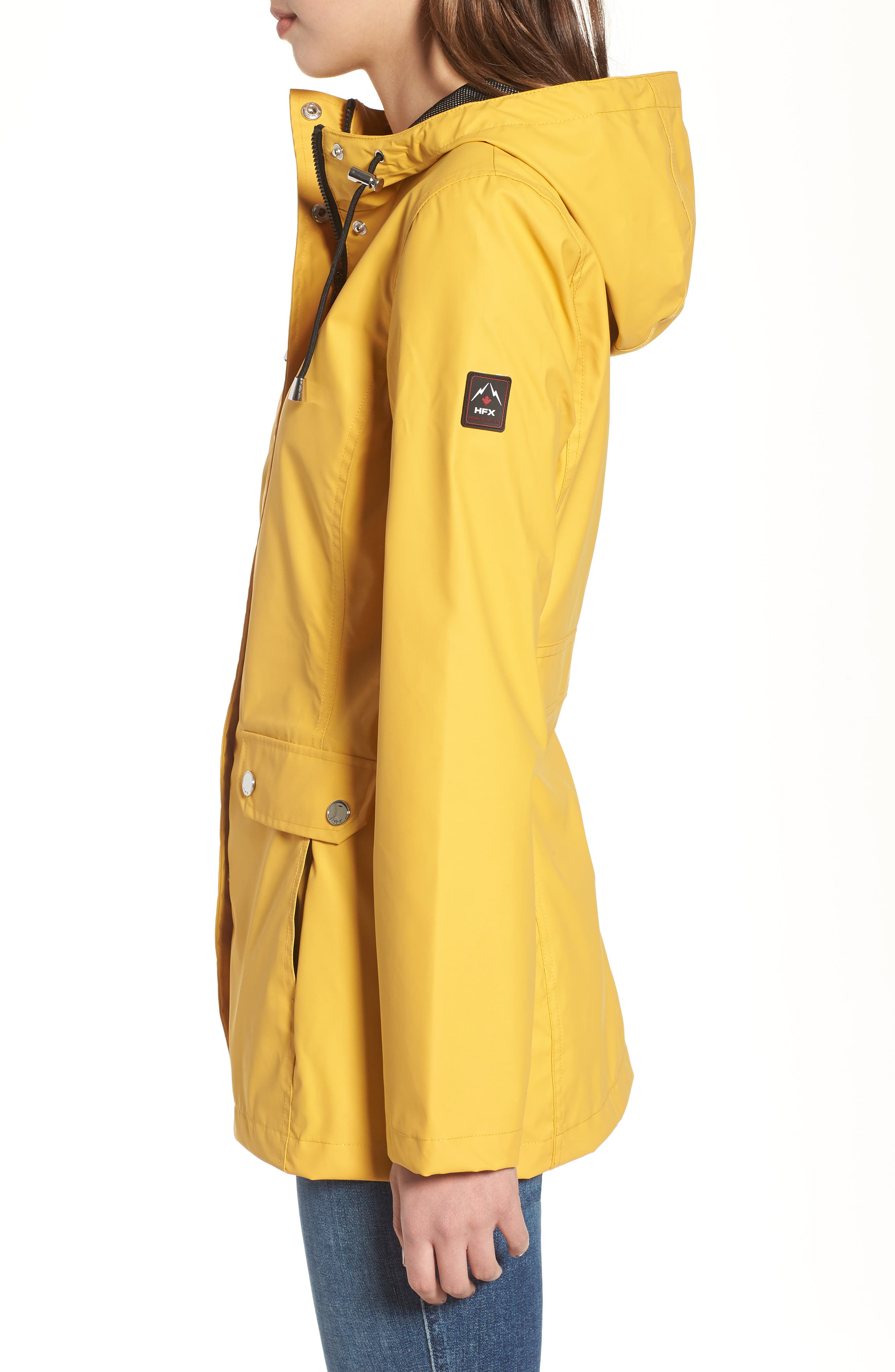 Hooded Raincoat,                             Alternate thumbnail 3, color,                             Yellow