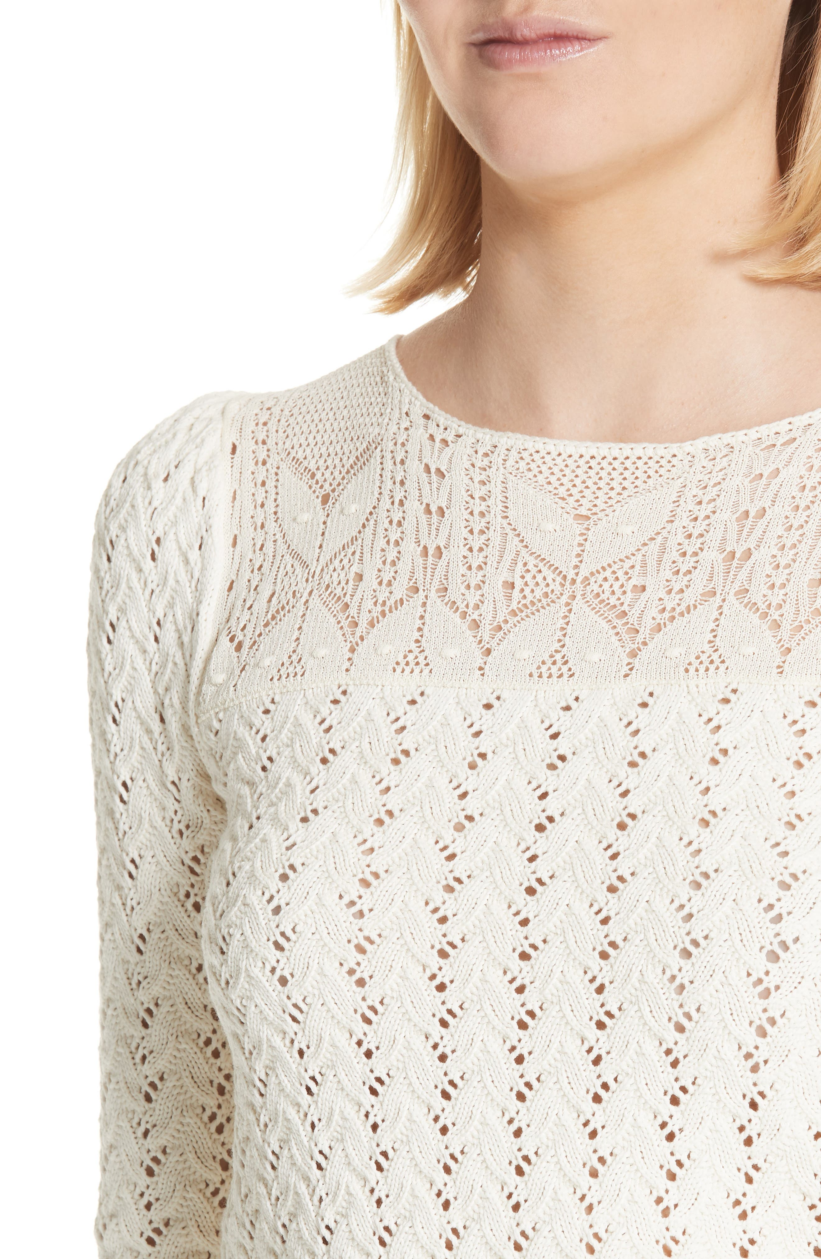 Lace Yoke Knit Sweater,                             Alternate thumbnail 5, color,                             Naturel