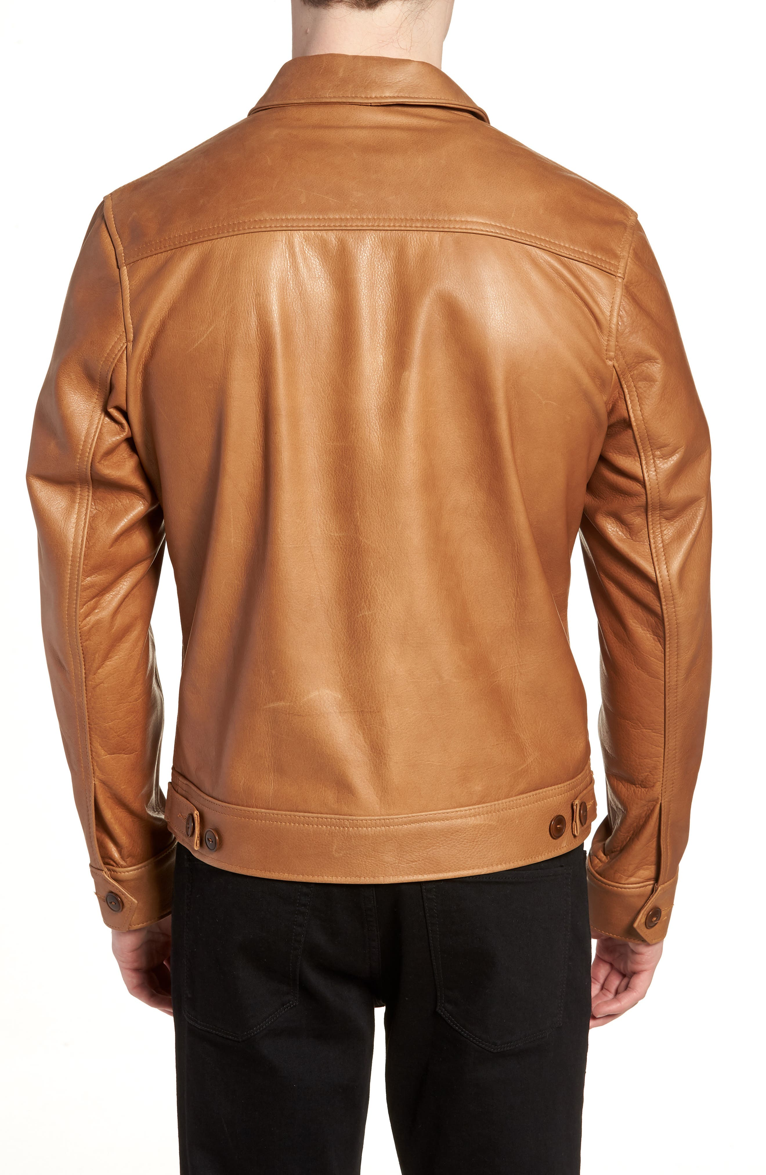 Waxy Leather Jacket,                             Alternate thumbnail 2, color,                             Rust