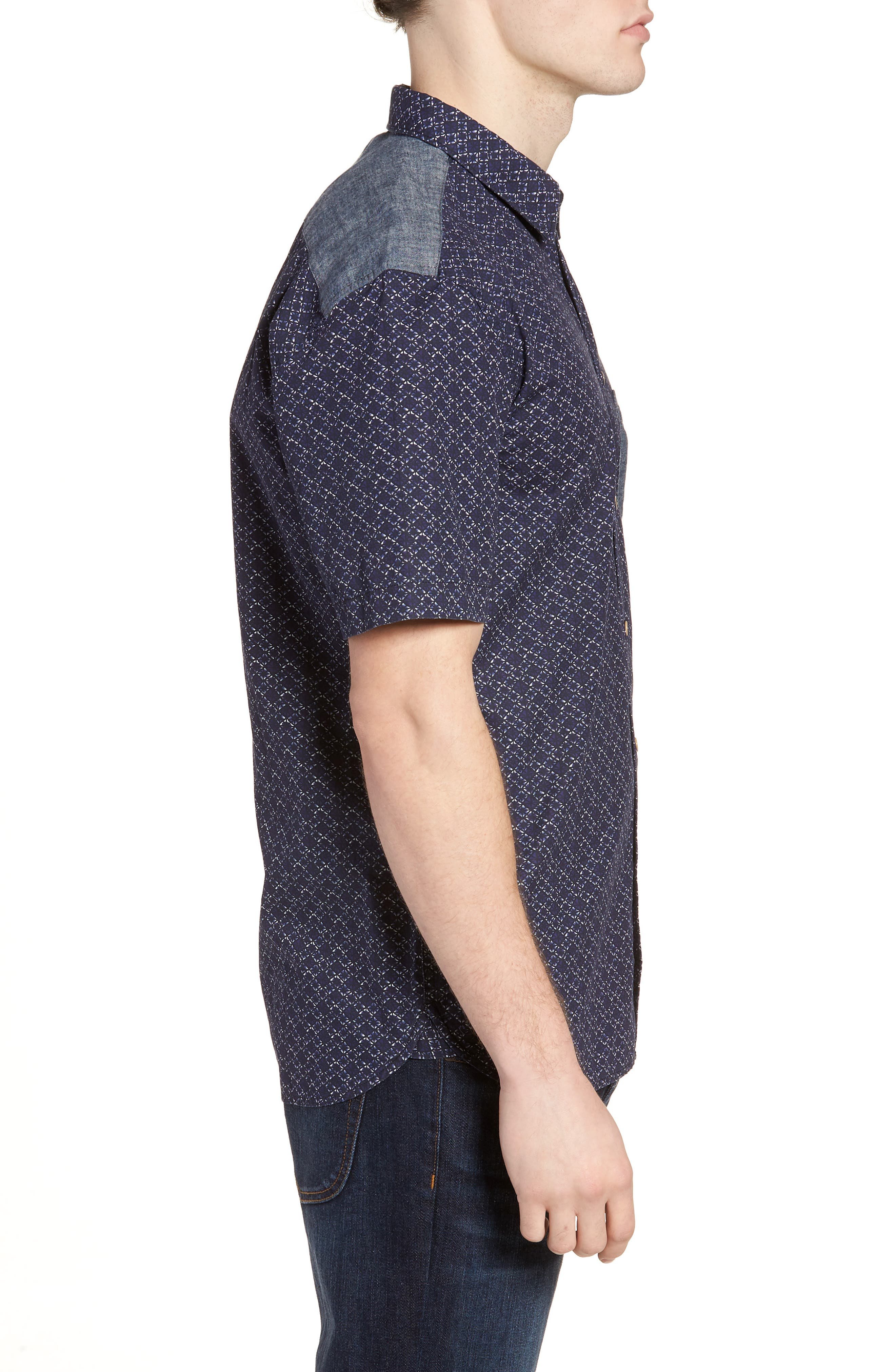 Kast Relaxed Fit Short Sleeve Sport Shirt,                             Alternate thumbnail 3, color,                             Deep Cobalt