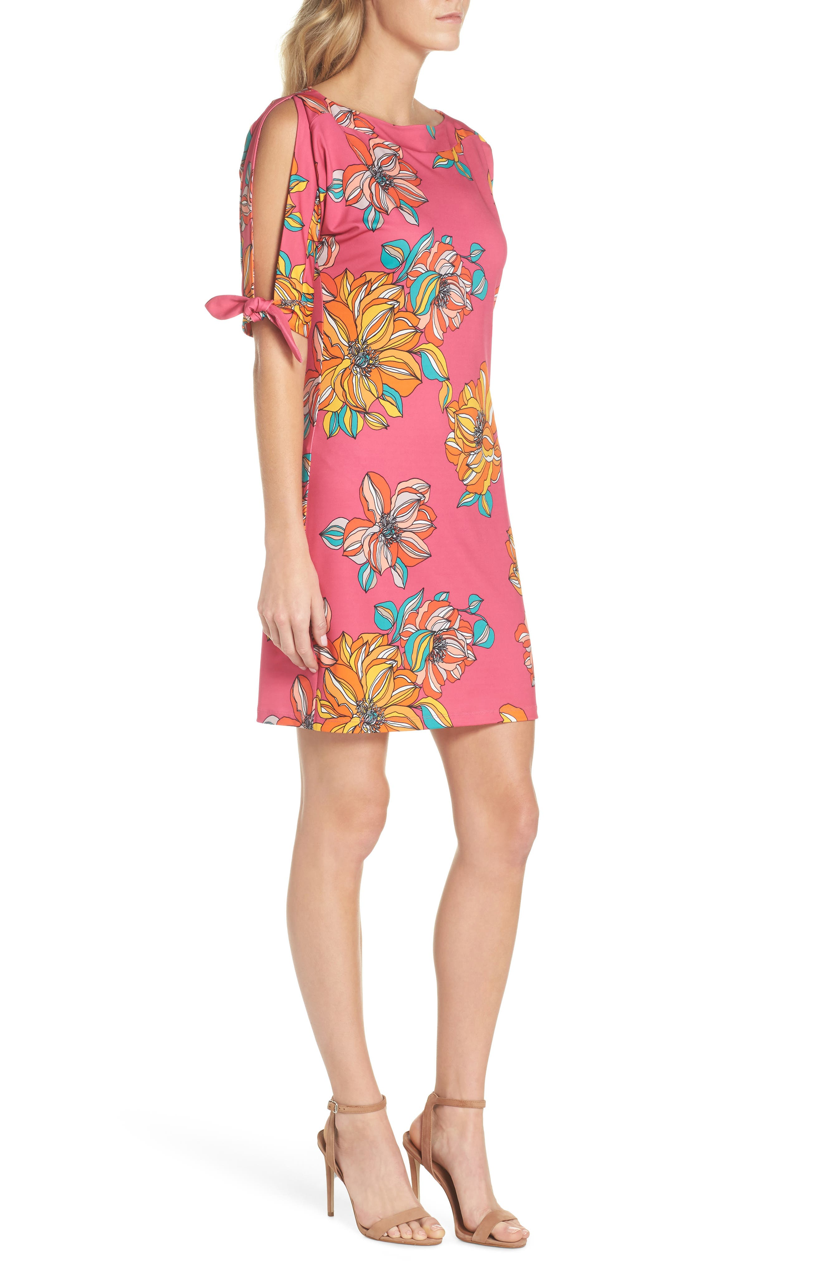 Vinet Floral Jersey Dress,                             Alternate thumbnail 3, color,                             Peony