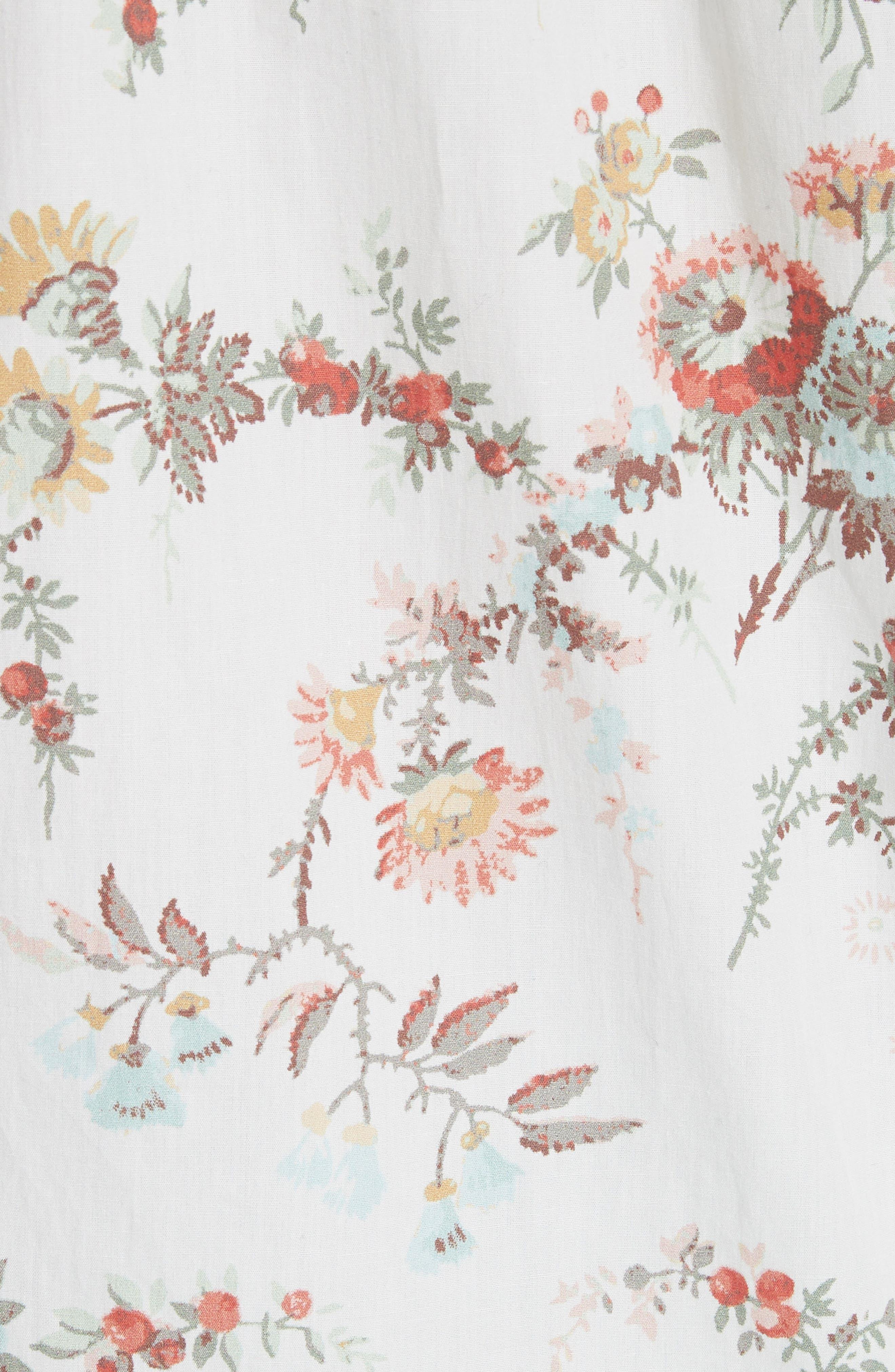 Belle Ruffle Floral Cotton Top,                             Alternate thumbnail 5, color,                             Milk Combo