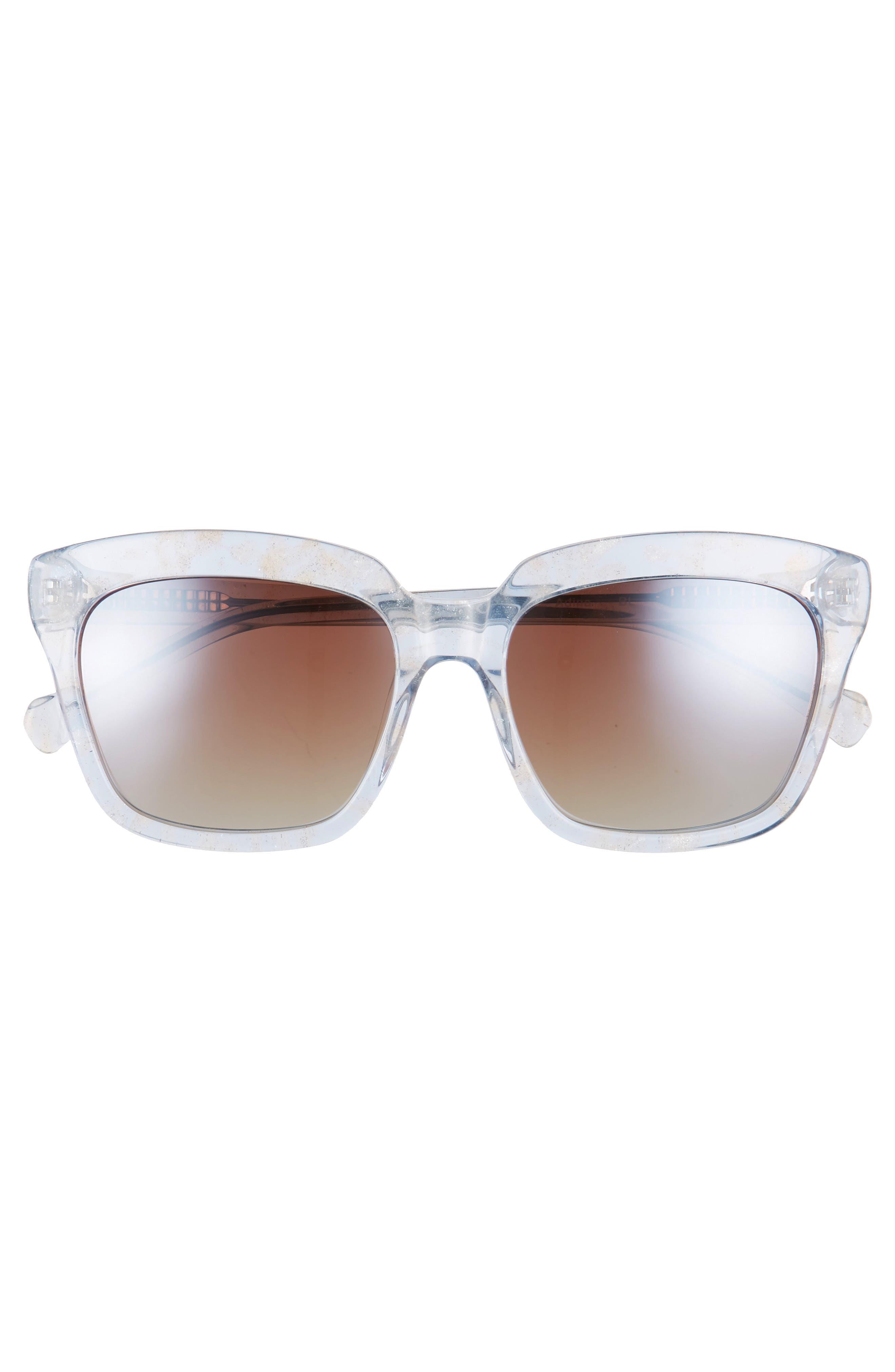 Adina 56mm Polarized Sunglasses,                             Alternate thumbnail 3, color,                             Blue Polar/ Greige