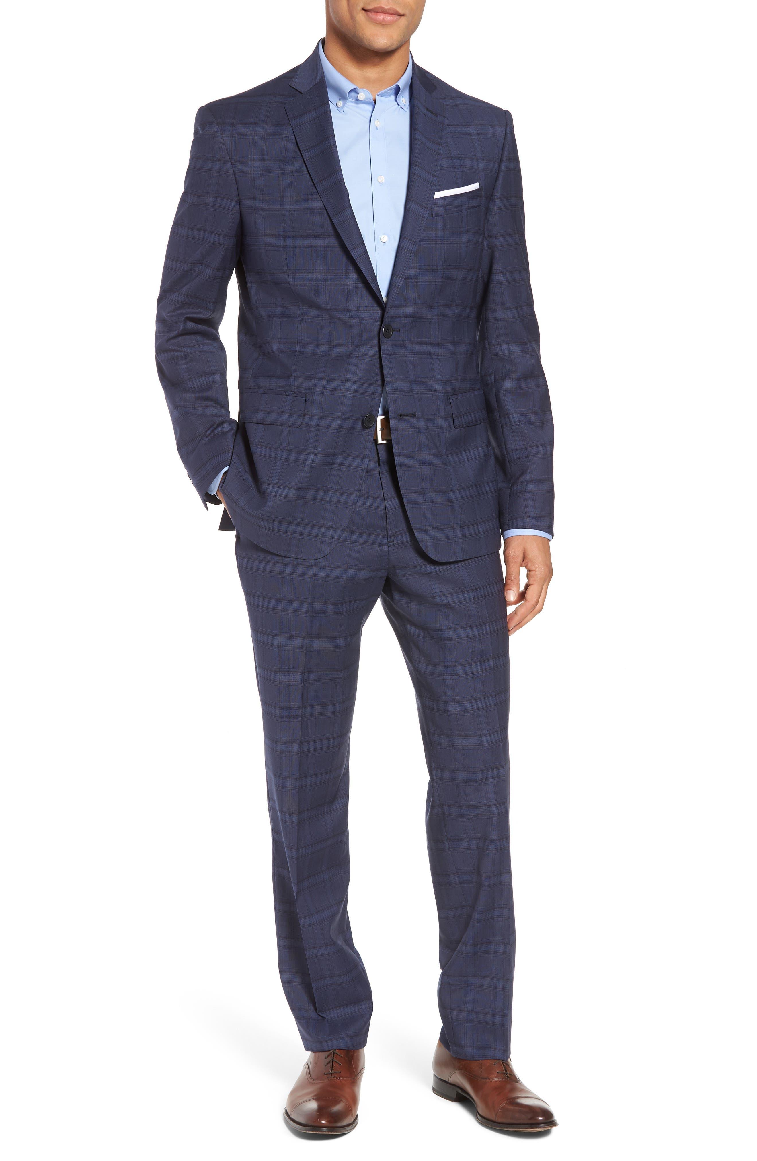 Trim Fit Plaid Stretch Wool Travel Suit,                         Main,                         color, Navy