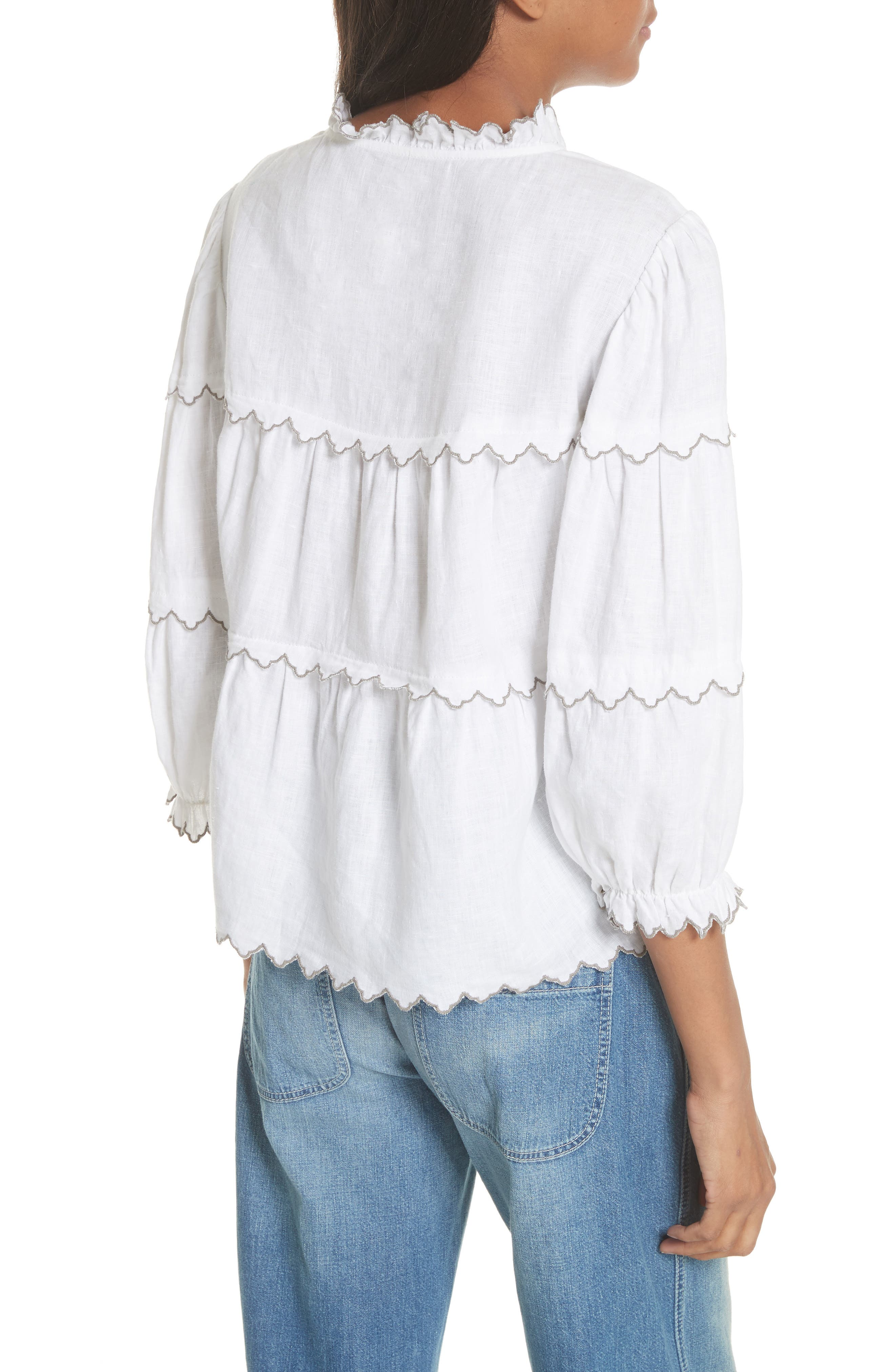 Embroidered Linen Top,                             Alternate thumbnail 2, color,                             Milk