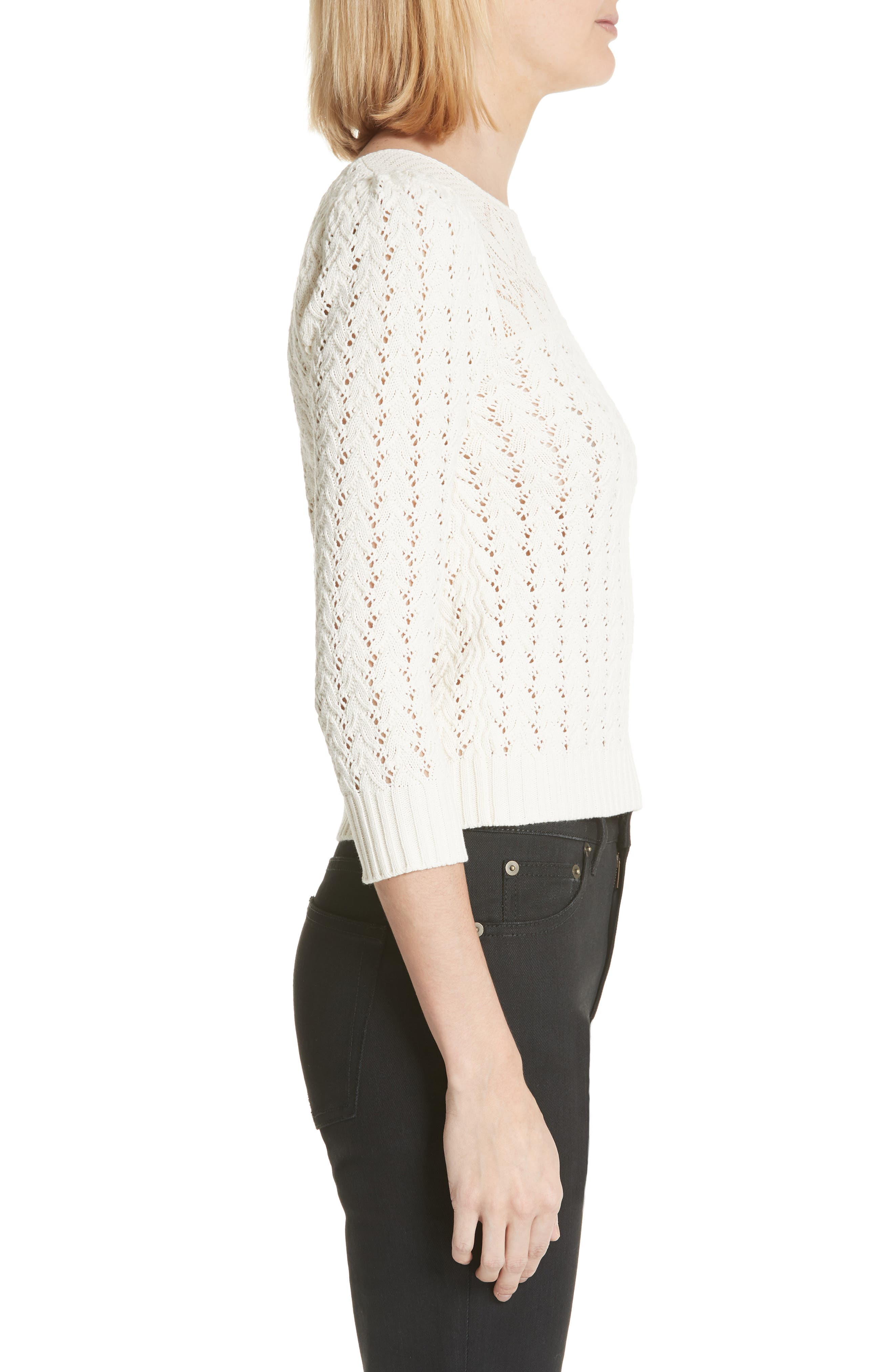 Lace Yoke Knit Sweater,                             Alternate thumbnail 3, color,                             Naturel