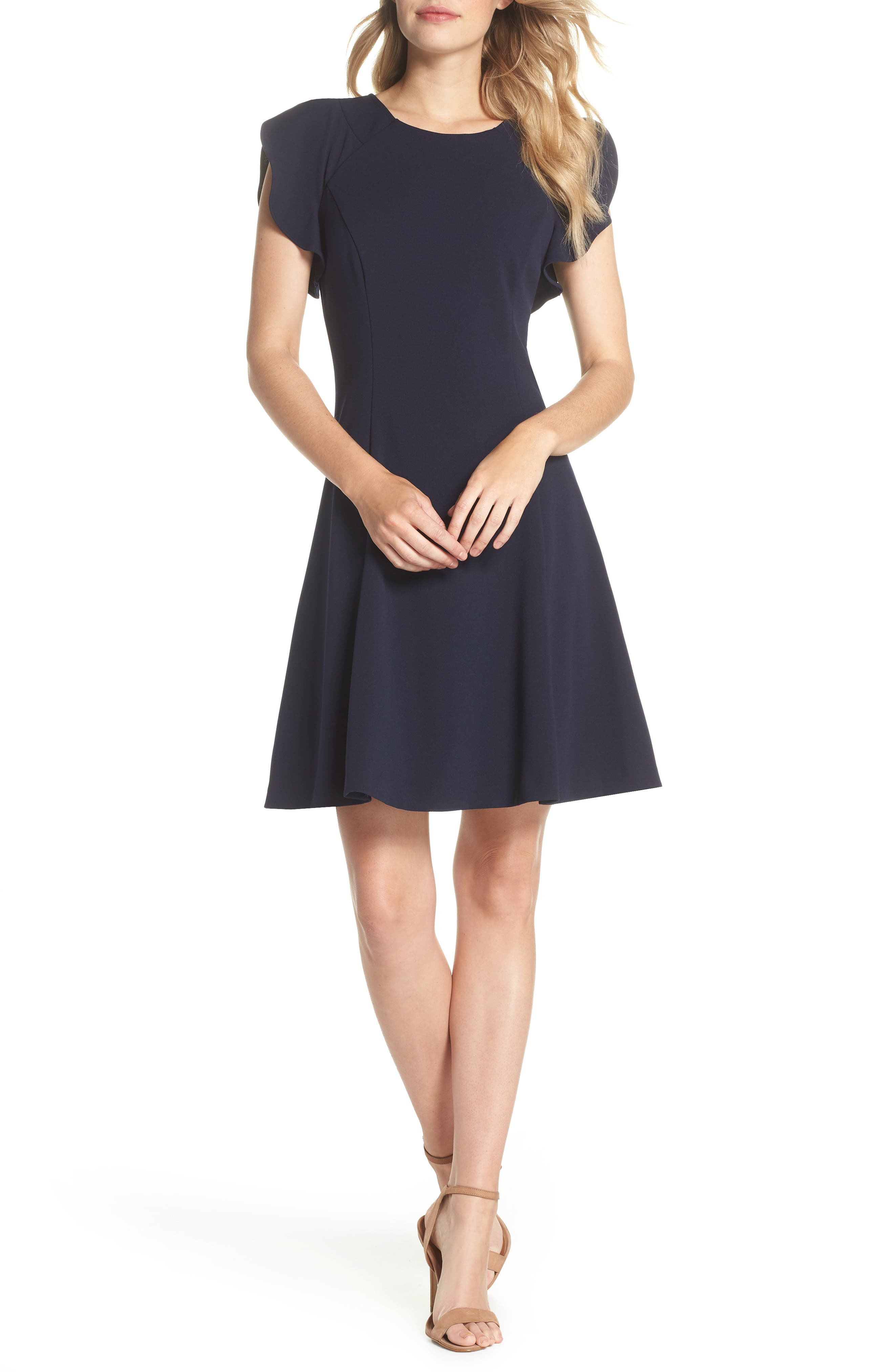Cap Sleeve Scuba Crepe Fit & Flare Dress,                         Main,                         color, Navy
