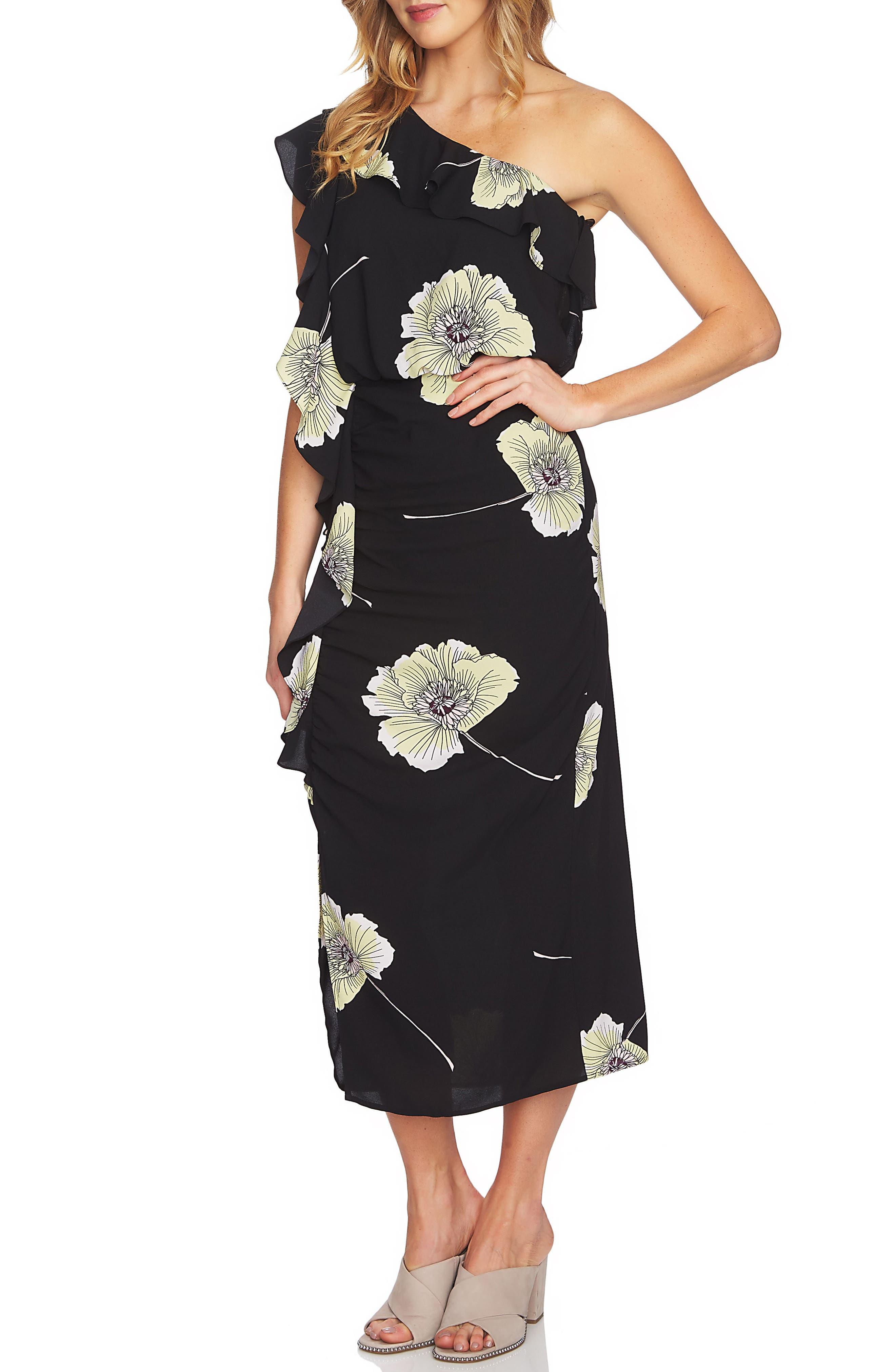 Ruffle One-Shoulder Midi Dress,                         Main,                         color, Rich Black
