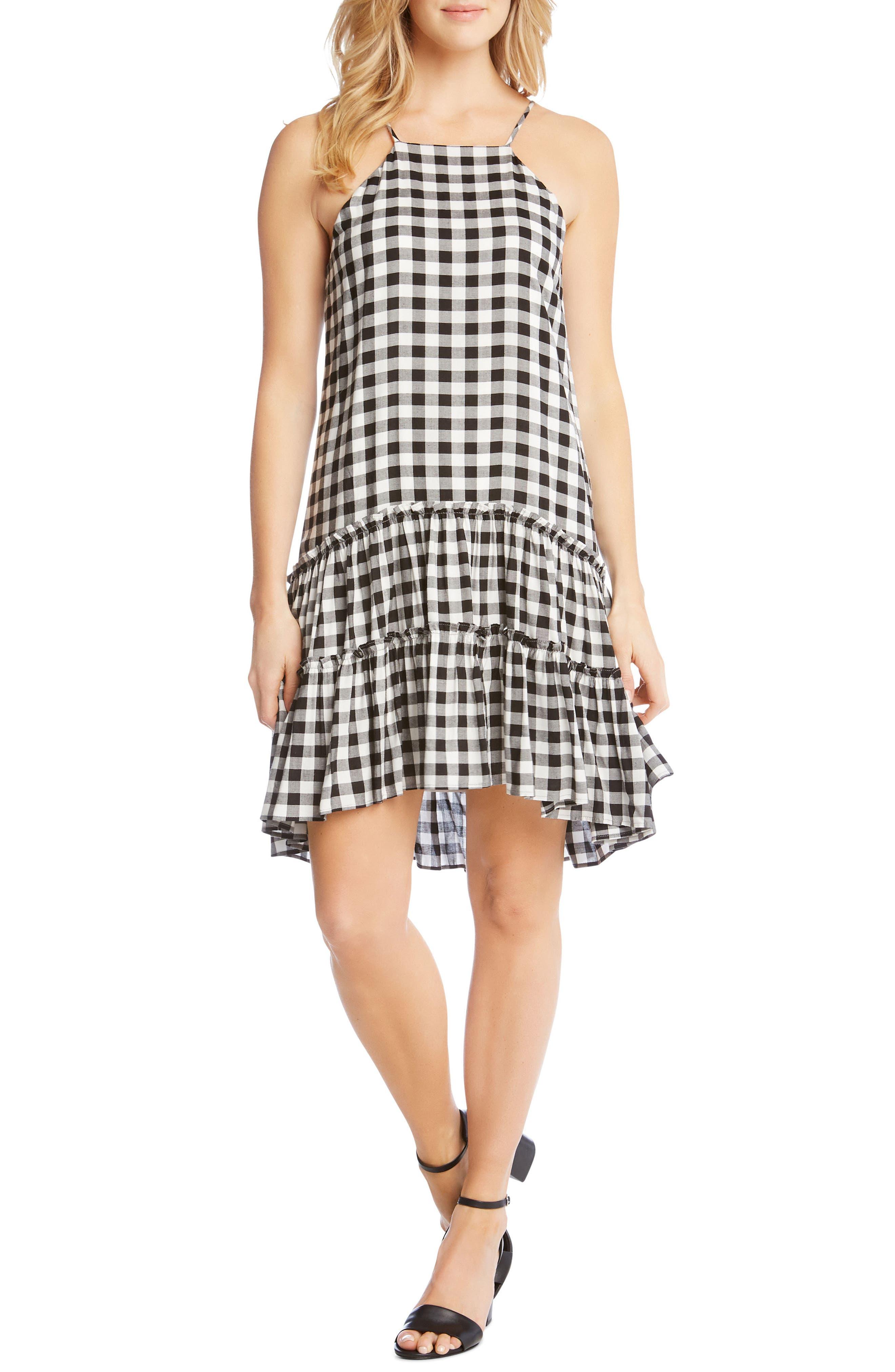 Gingham Ruffle Hem Halter Top Dress,                             Main thumbnail 1, color,                             Check