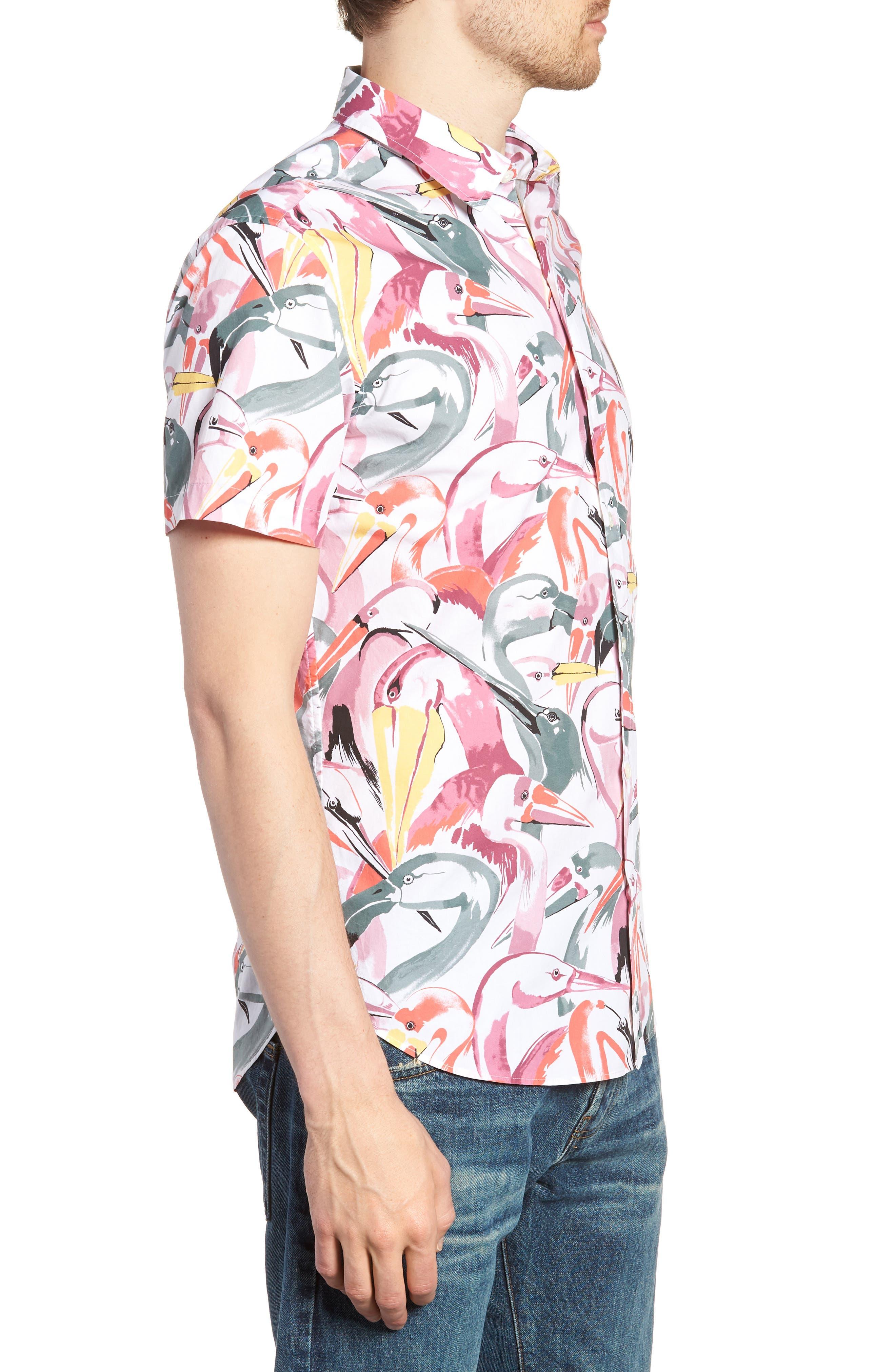 Premium Slim Fit Print Short Sleeve Sport Shirt,                             Alternate thumbnail 3, color,                             Bird Print