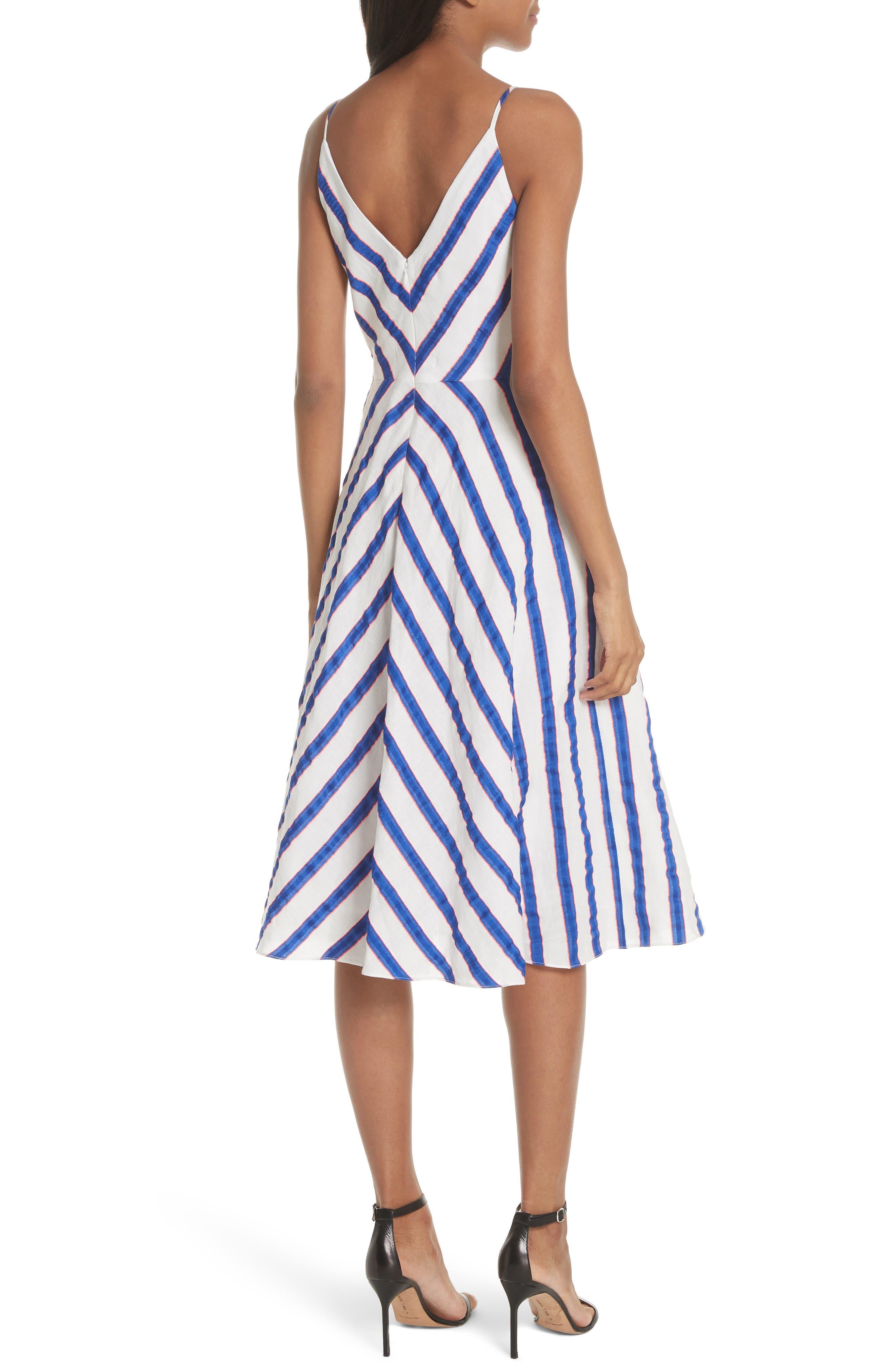 Stripe Washed Linen Blend Sundress,                             Alternate thumbnail 2, color,                             Cobalt