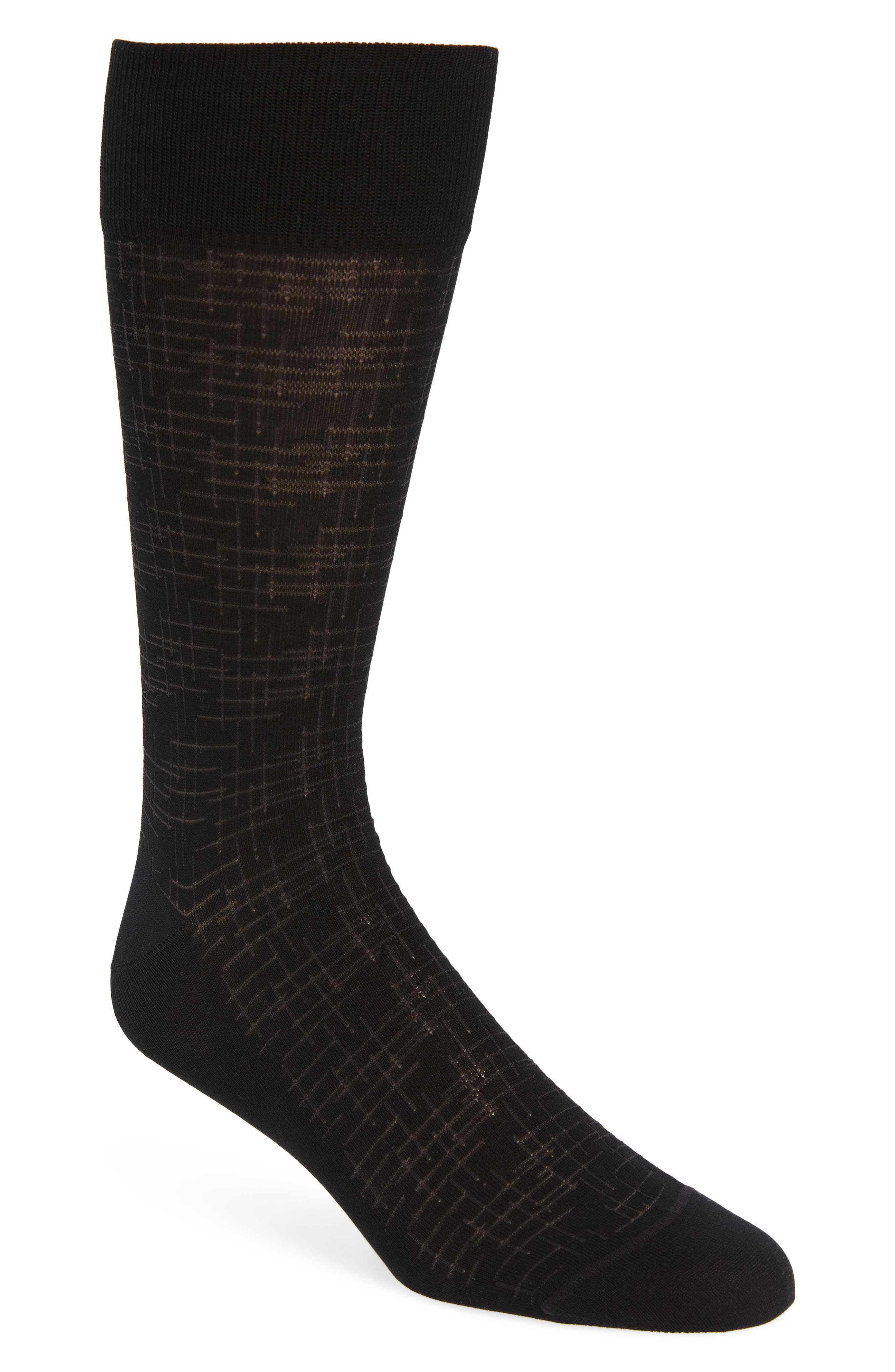 Crosshatch Socks,                         Main,                         color, Black/ Charcoal