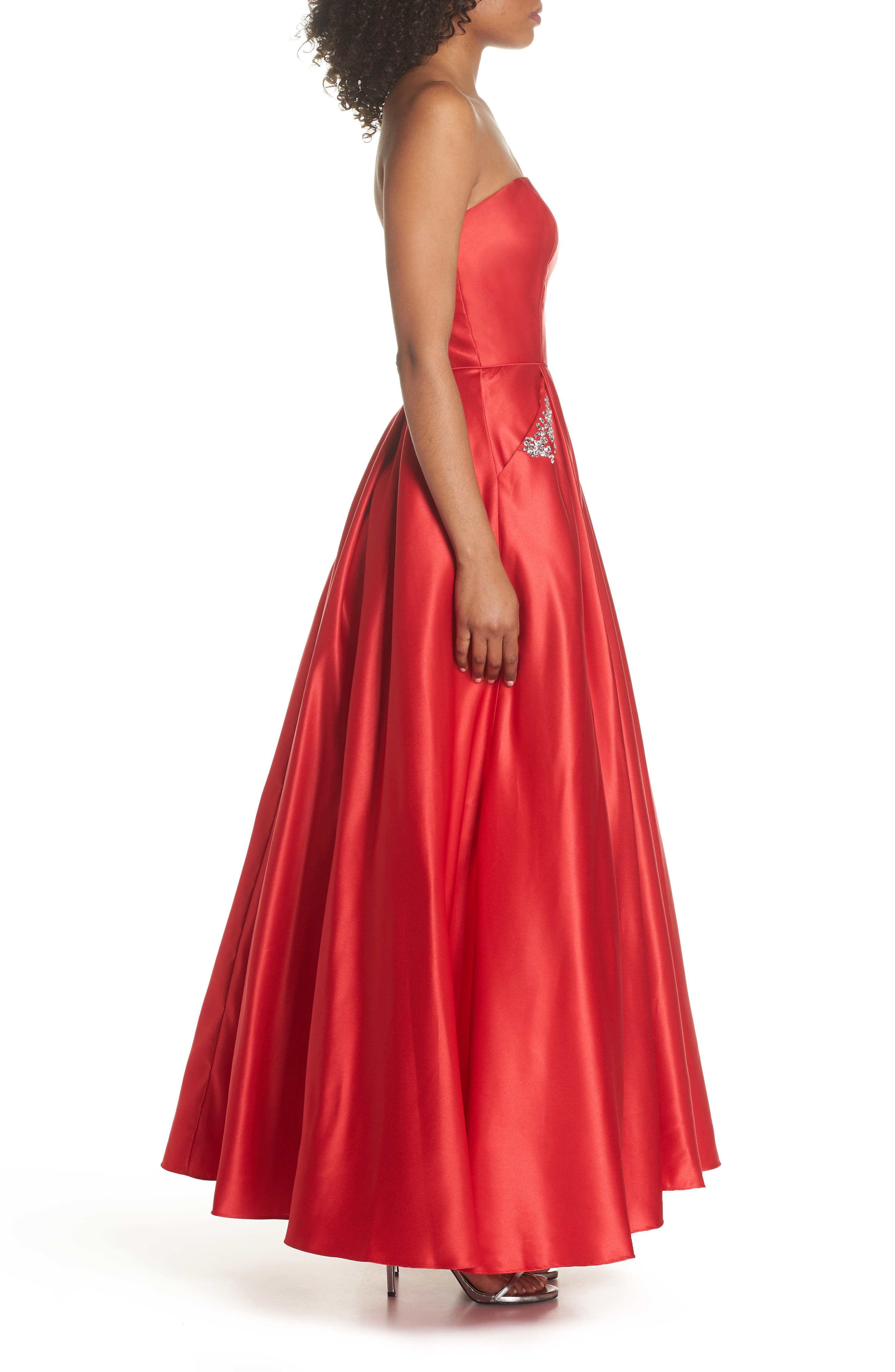 Embellished Strapless Ballgown,                             Alternate thumbnail 3, color,                             Red