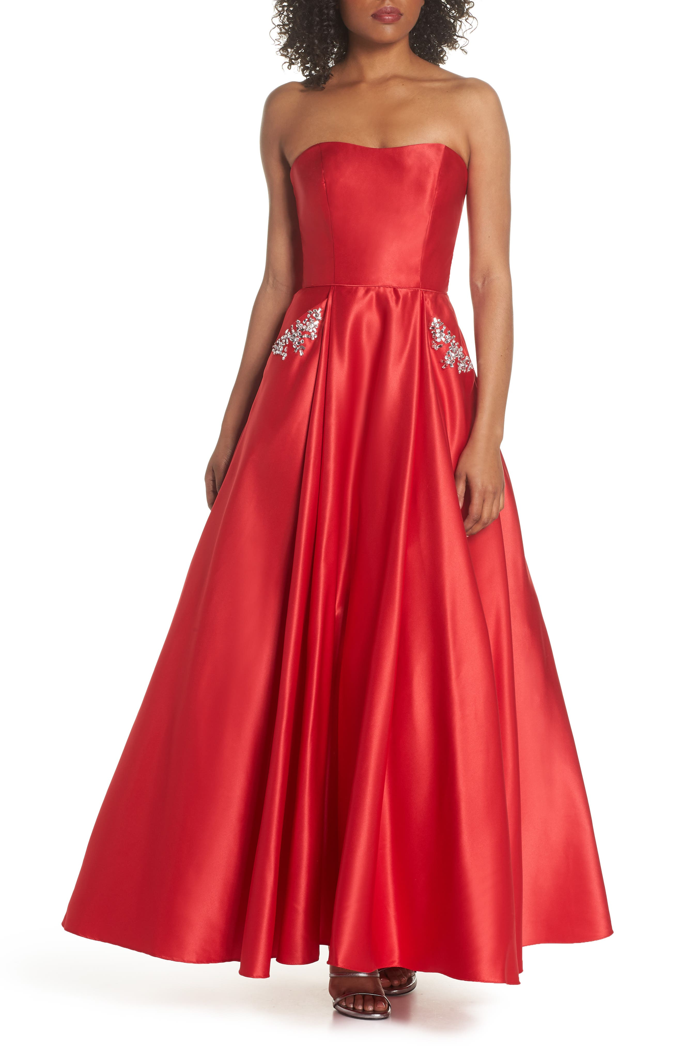 Embellished Strapless Ballgown,                             Main thumbnail 1, color,                             Red