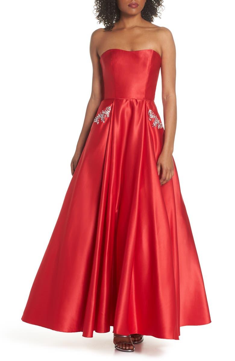 Embellished Strapless Ballgown