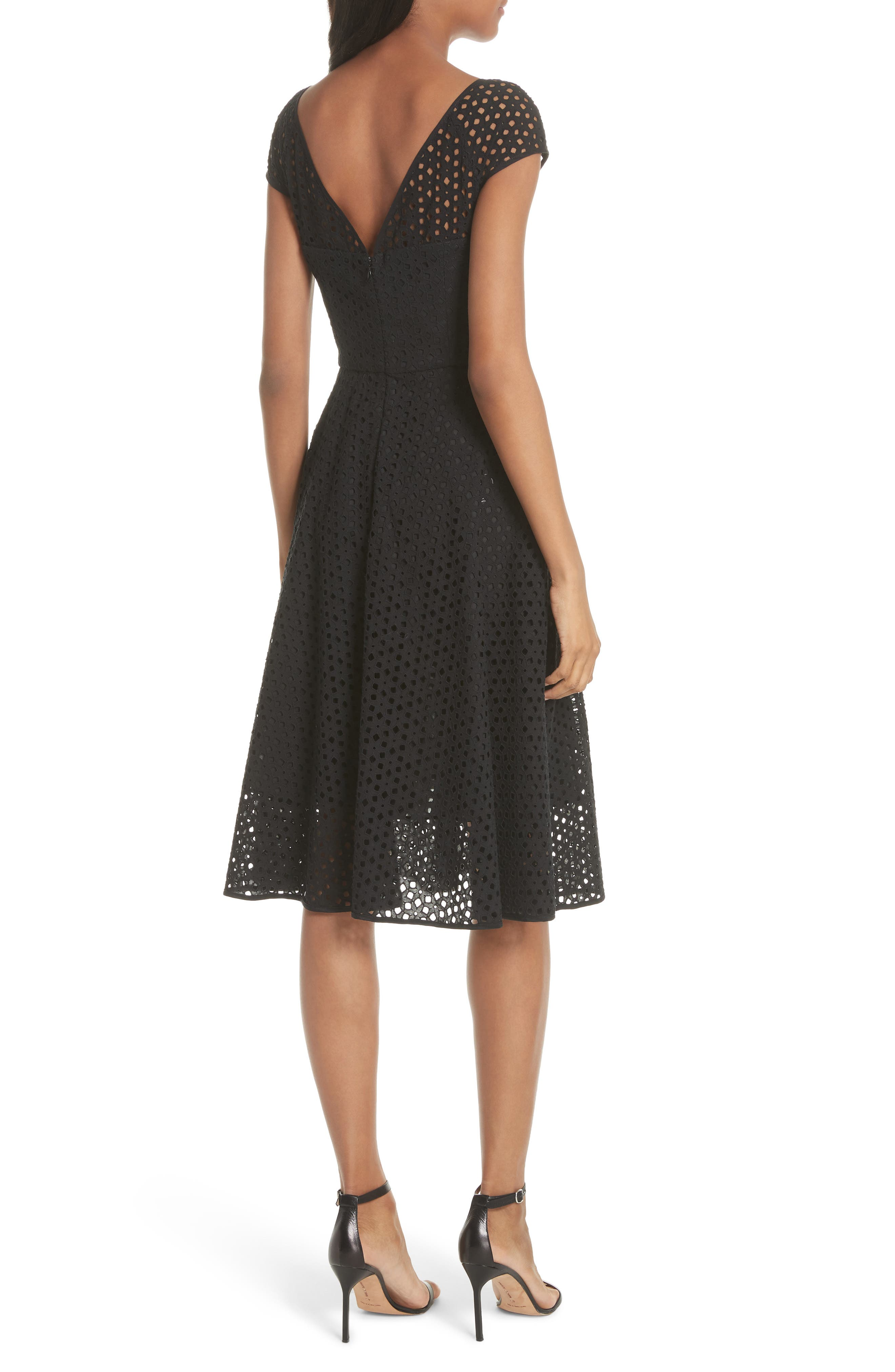 Cathy Cotton Eyelet Dress,                             Alternate thumbnail 2, color,                             Black