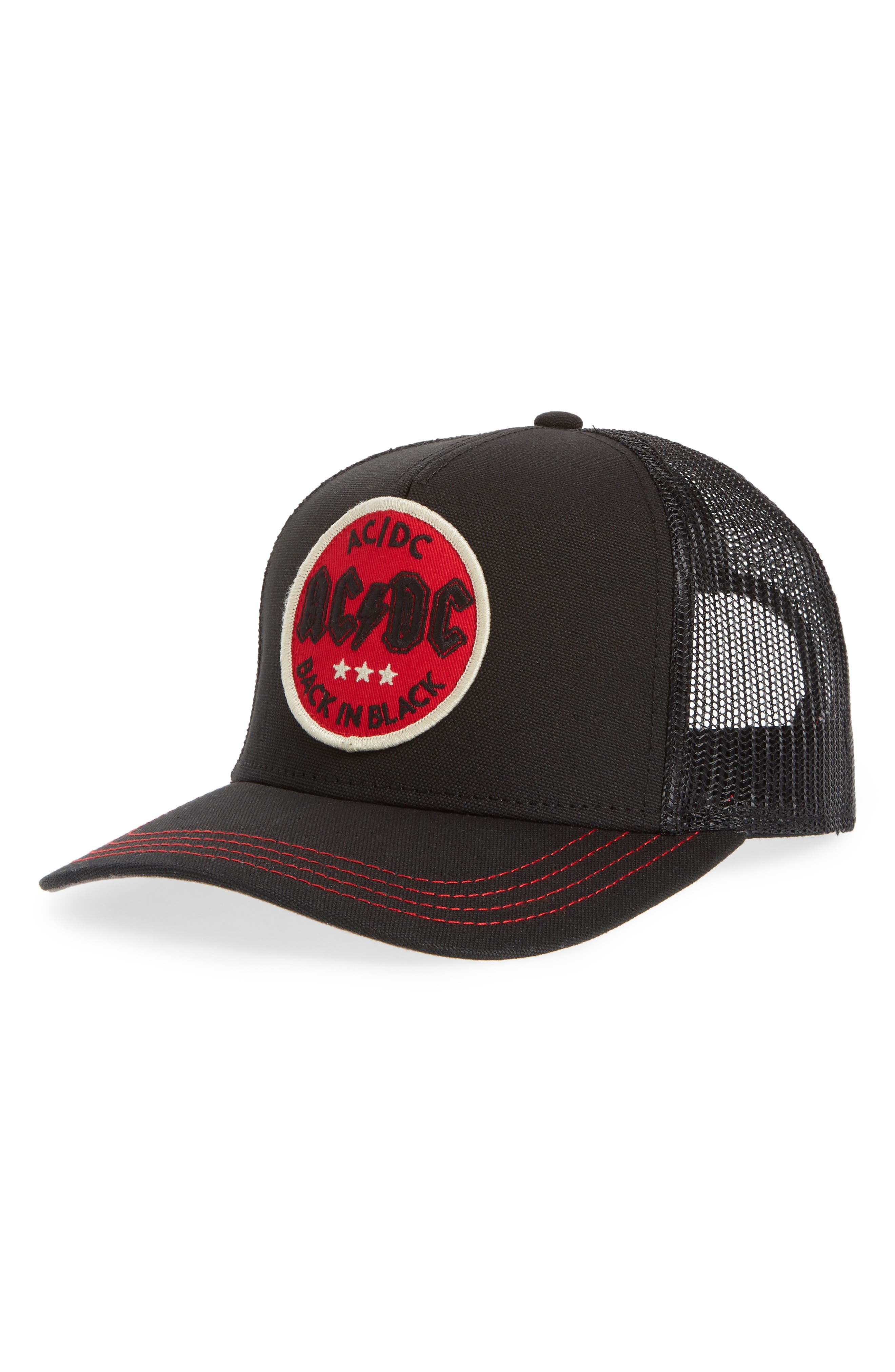Valin AC/DC Back in Black Trucker Hat,                             Main thumbnail 1, color,                             Black