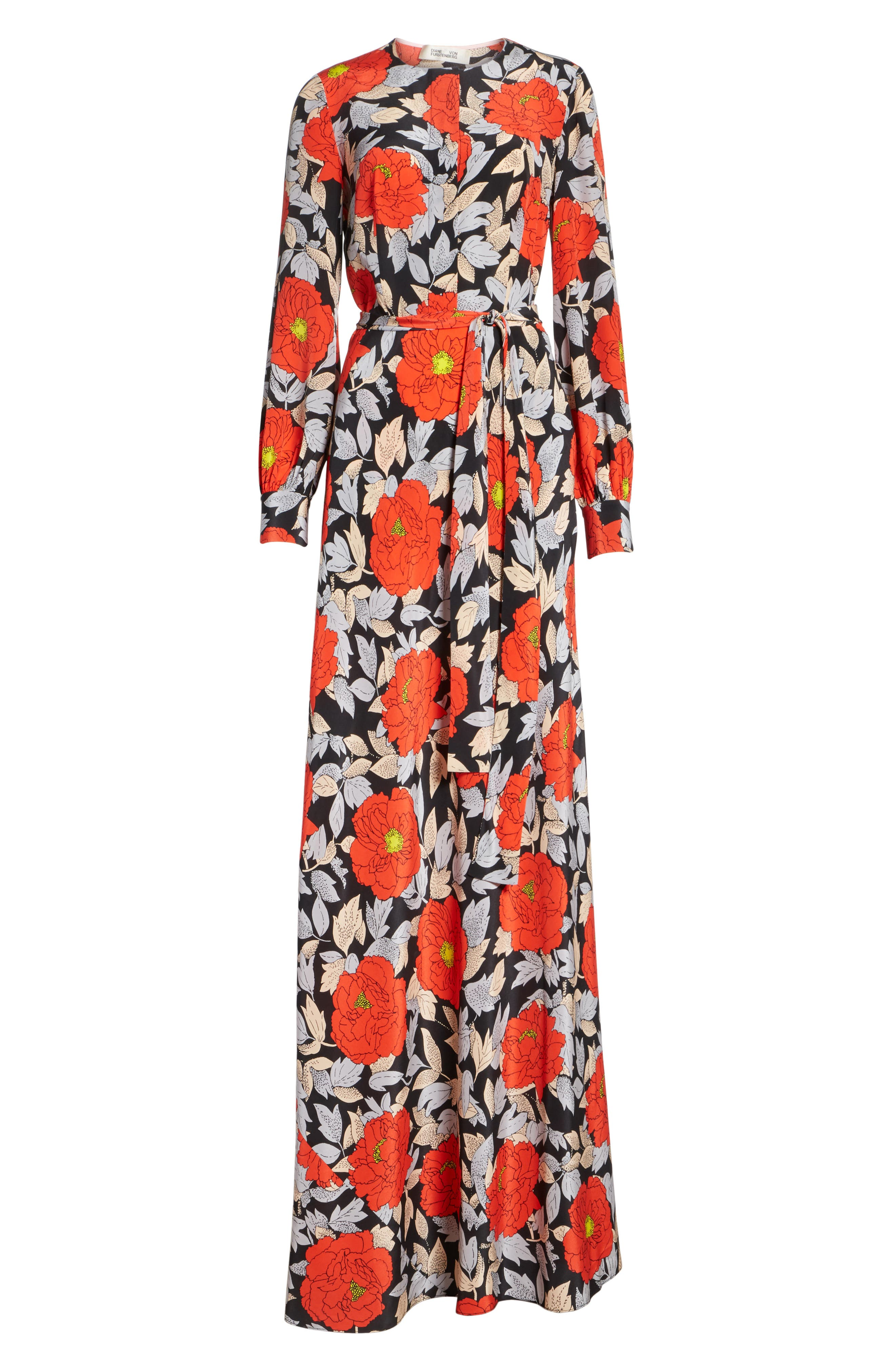 Waist Tie Silk Maxi Dress,                             Alternate thumbnail 6, color,                             Boswell Black