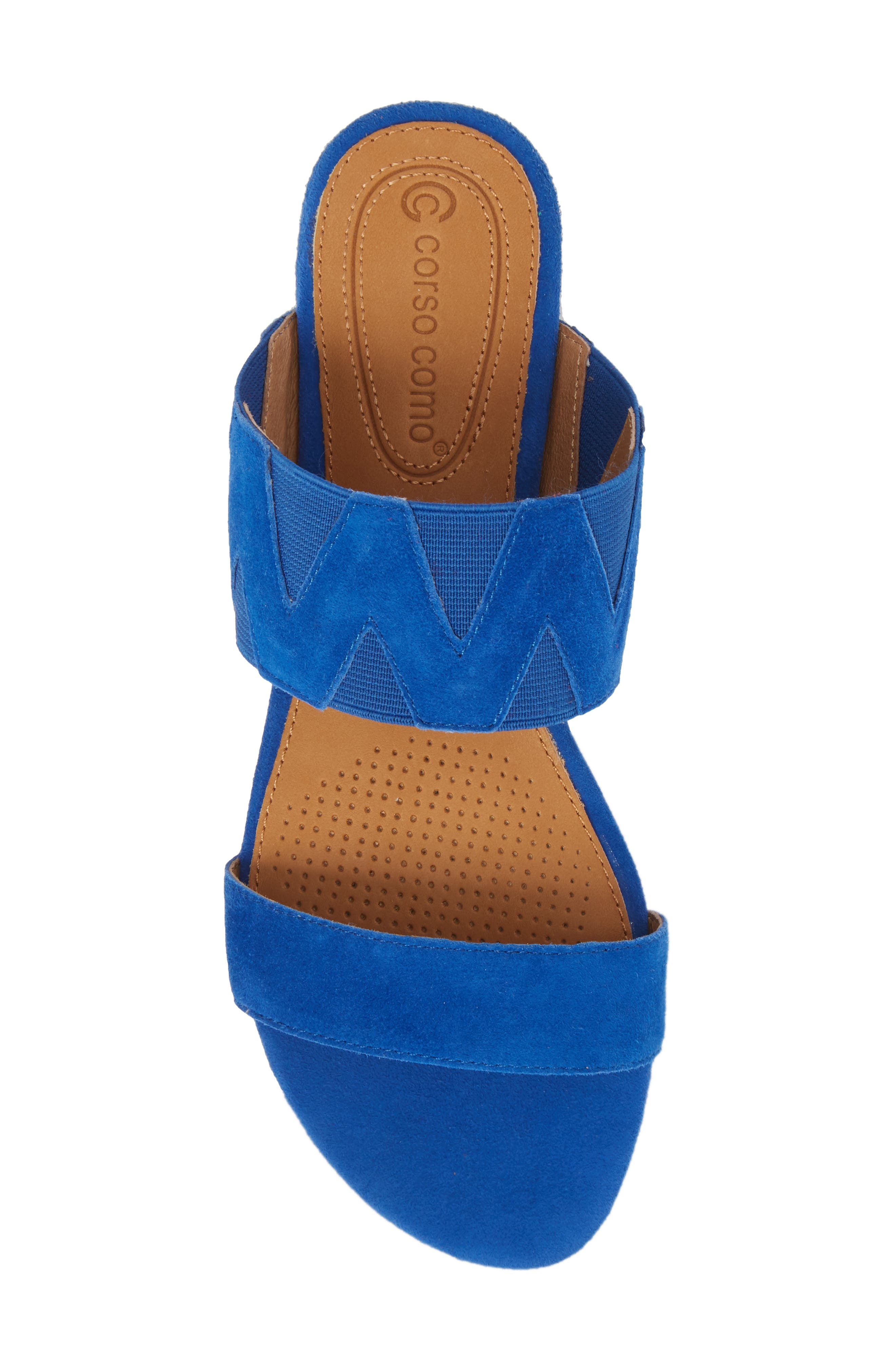 Vickee Double Band Sandal,                             Alternate thumbnail 5, color,                             Royal Blue Leather