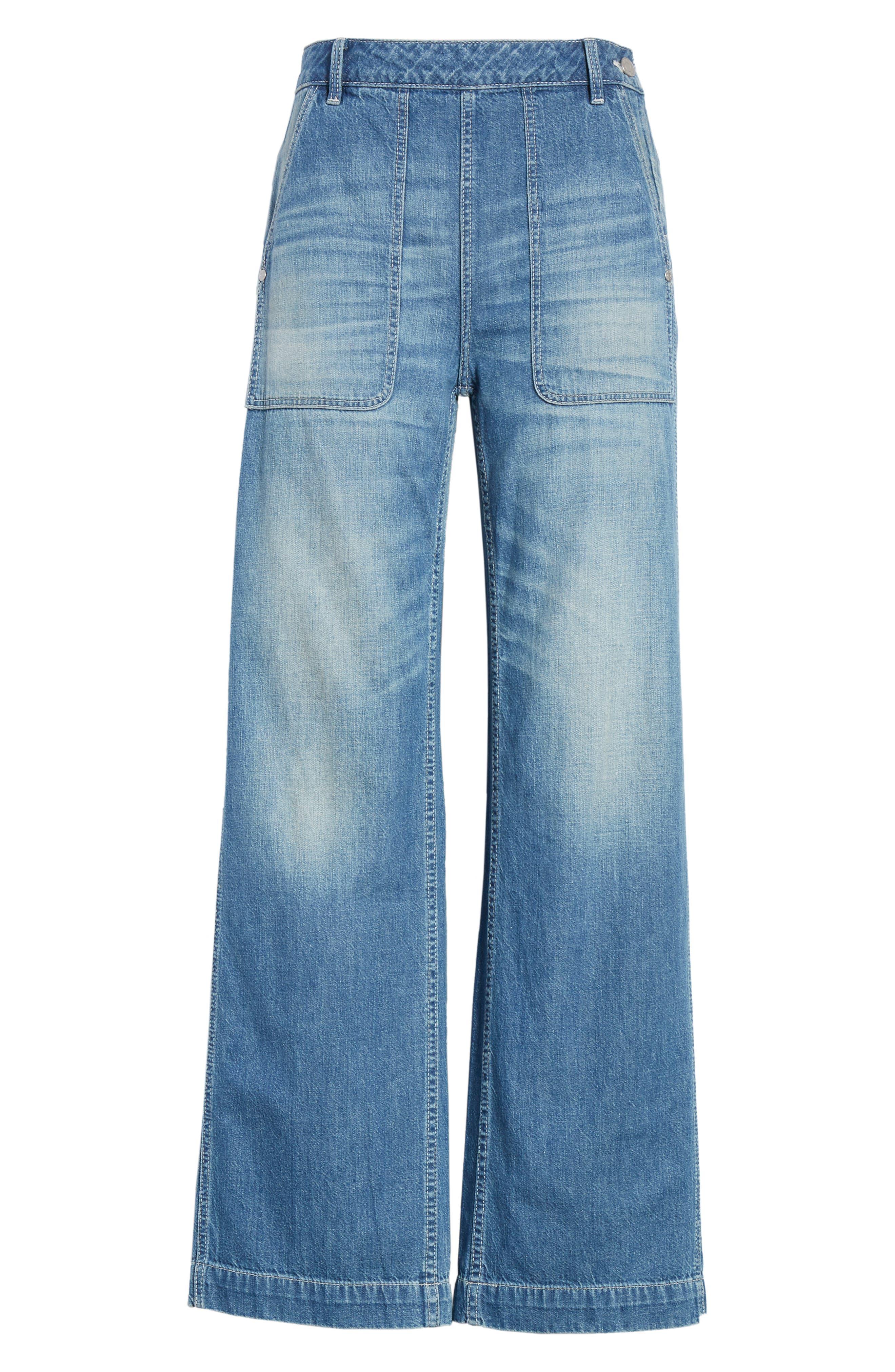 Drapey Denim Wide Leg Pants,                             Alternate thumbnail 6, color,                             Riviera Wash