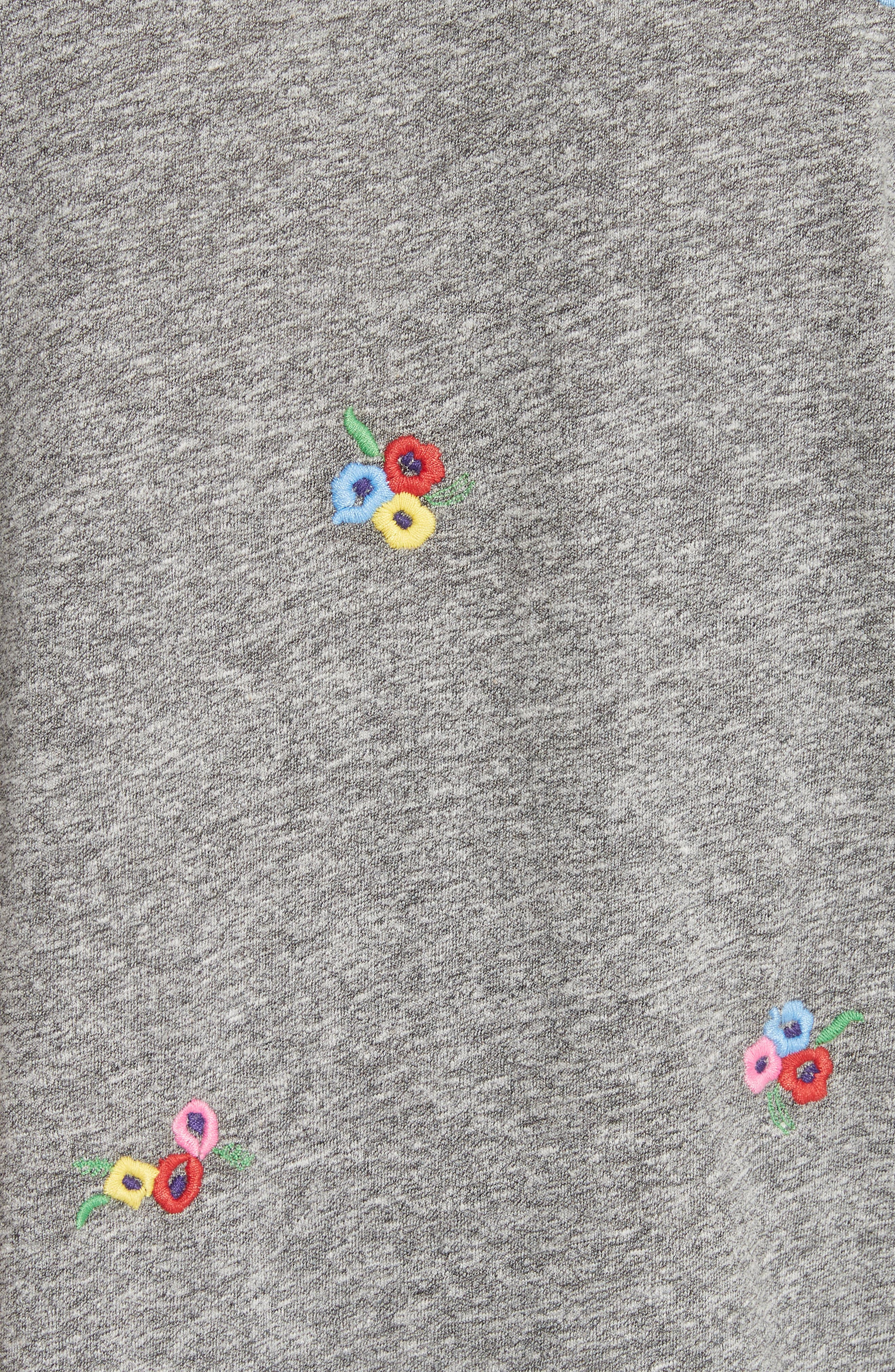 The Boxy Crew Tee,                             Alternate thumbnail 5, color,                             Heather Grey W/ Bouquet Emb