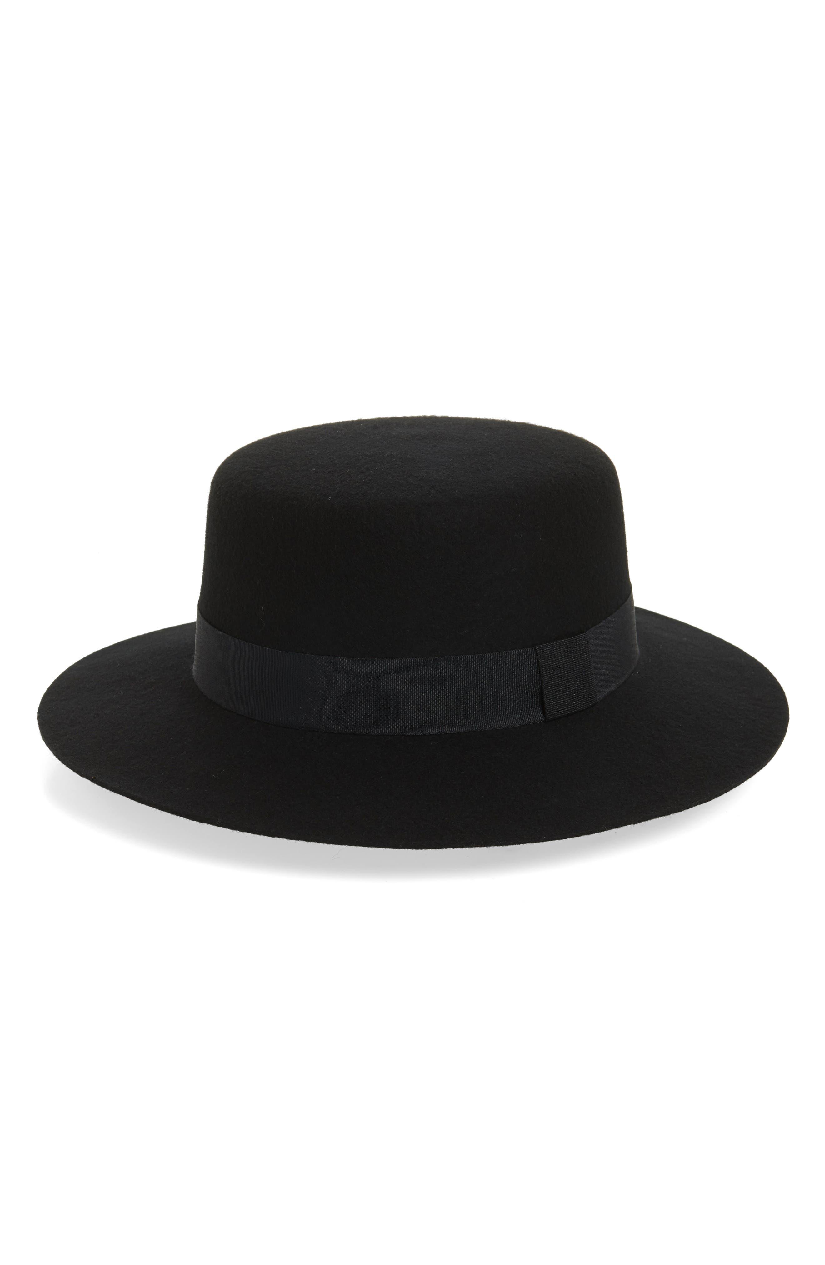 Wide Brim Felt Boater,                         Main,                         color, Black