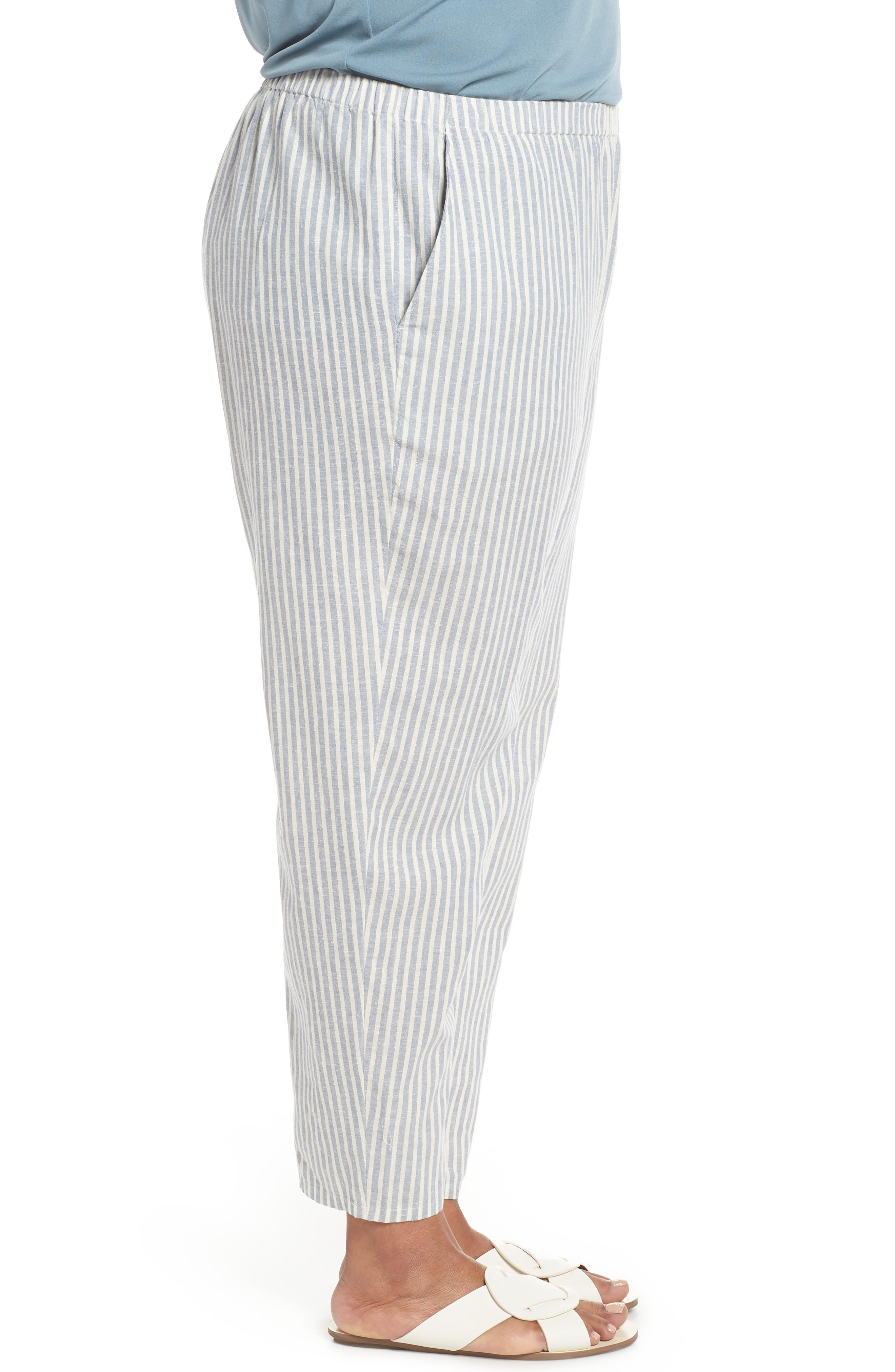 Stripe Ankle Hemp & Cotton Pants,                             Alternate thumbnail 3, color,                             Chambray
