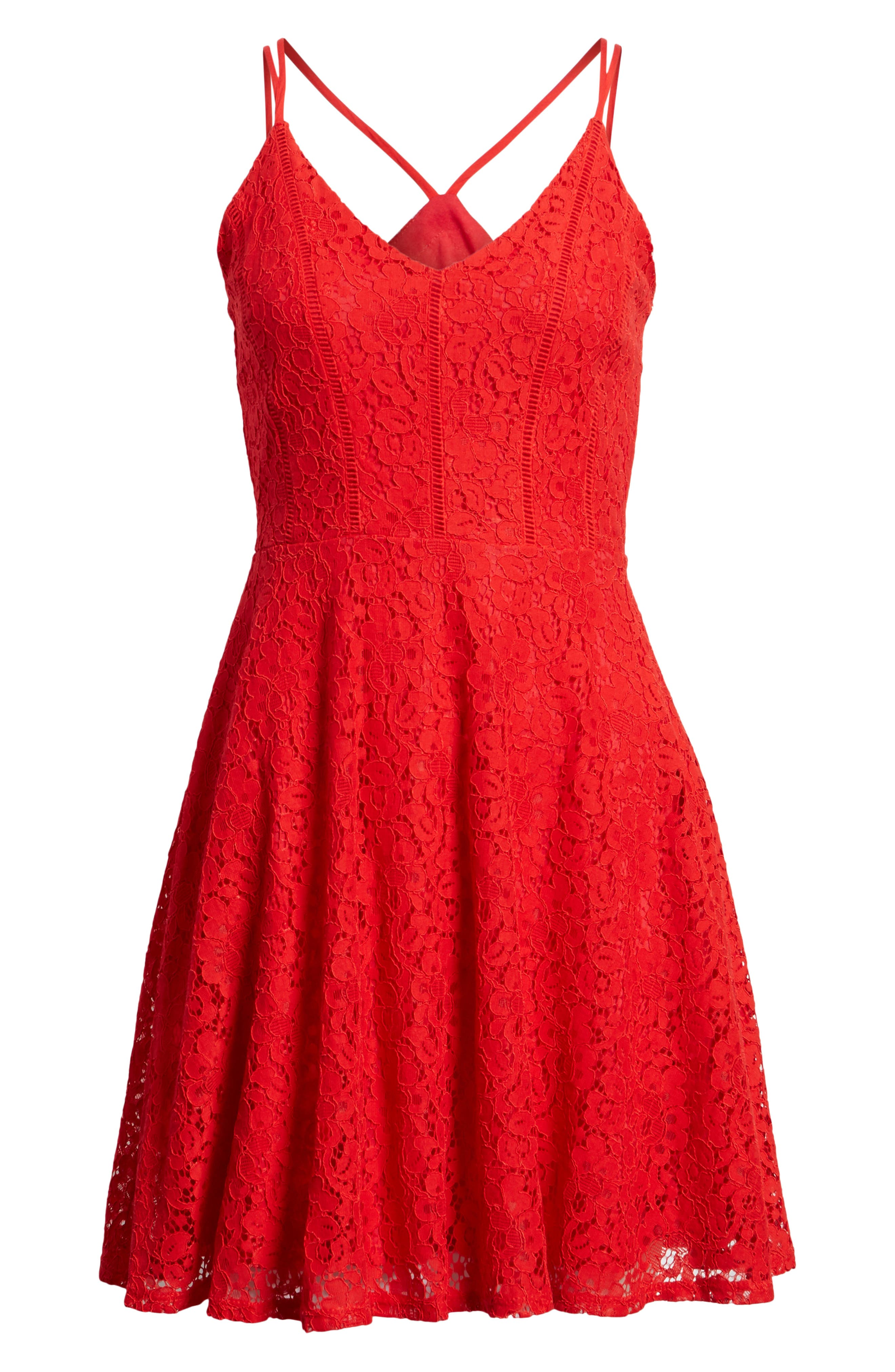 Strappy Lace Fit & Flare Dress,                             Alternate thumbnail 7, color,                             Tomato