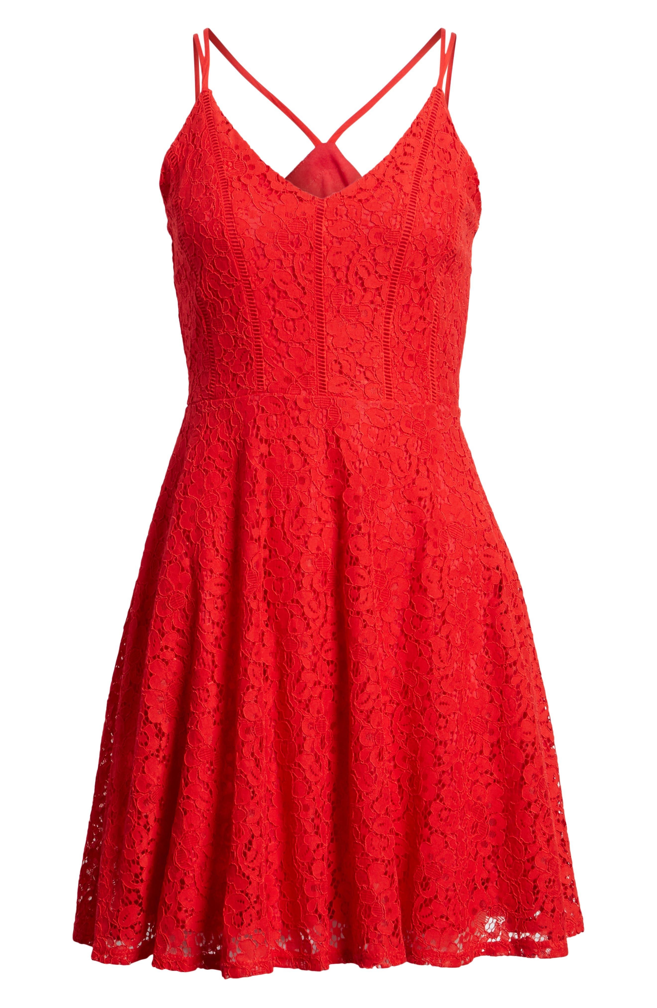 Alternate Image 6  - Soprano Strappy Lace Fit & Flare Dress