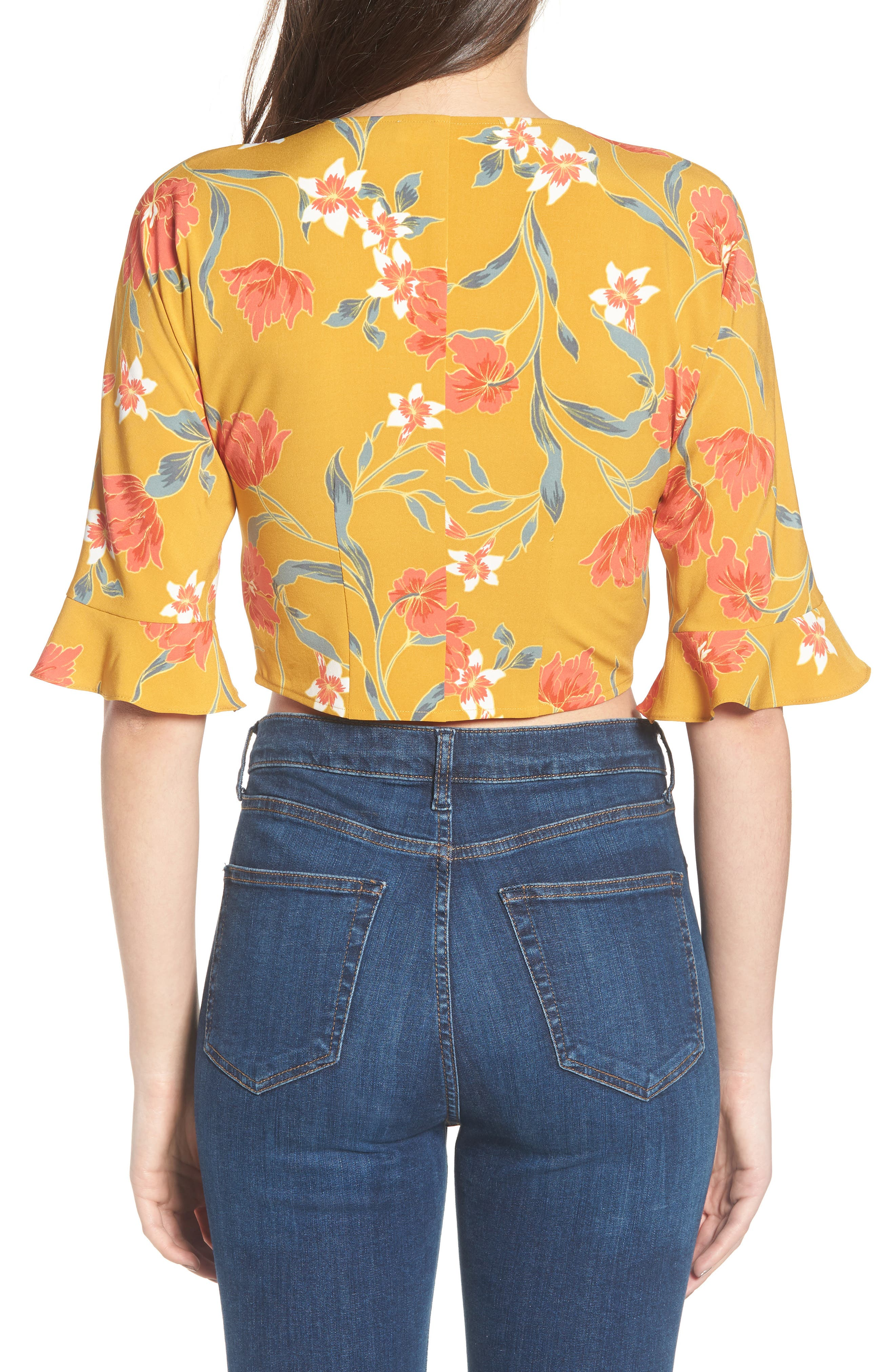 Tie Front Crop Top,                             Alternate thumbnail 2, color,                             Mustard Multi Floral