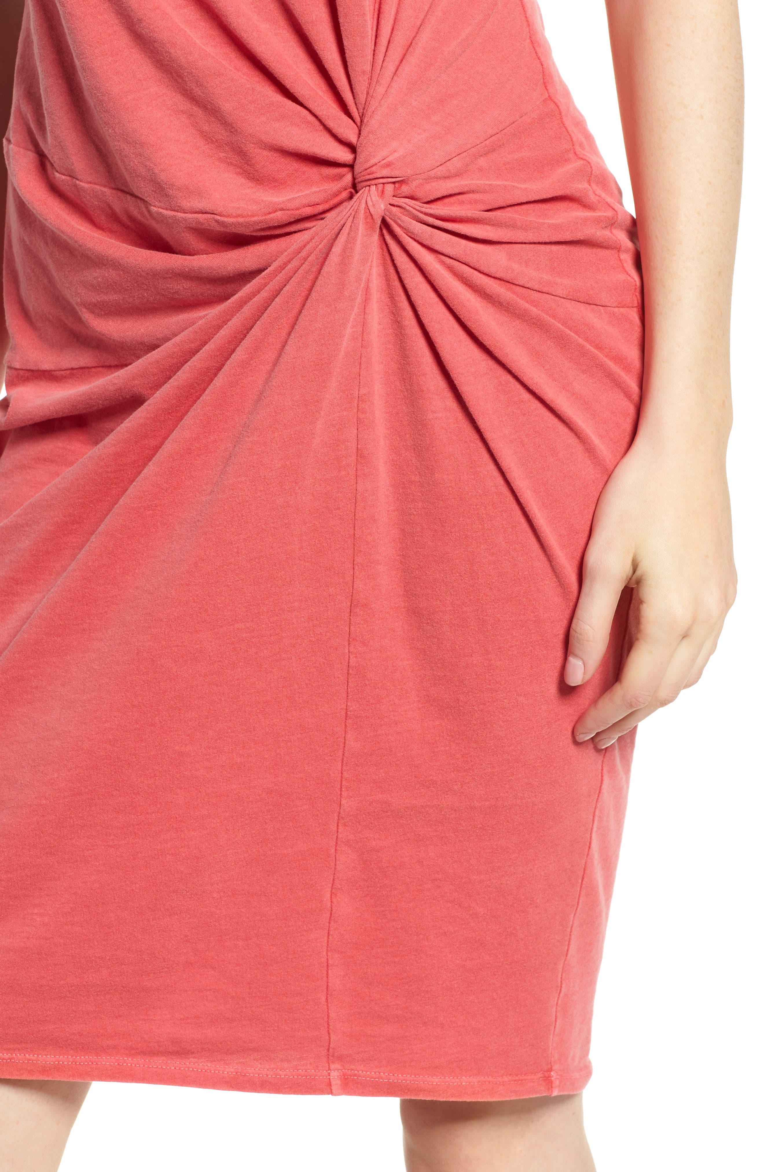 Twist Jersey Dress,                             Alternate thumbnail 4, color,                             Scarlet