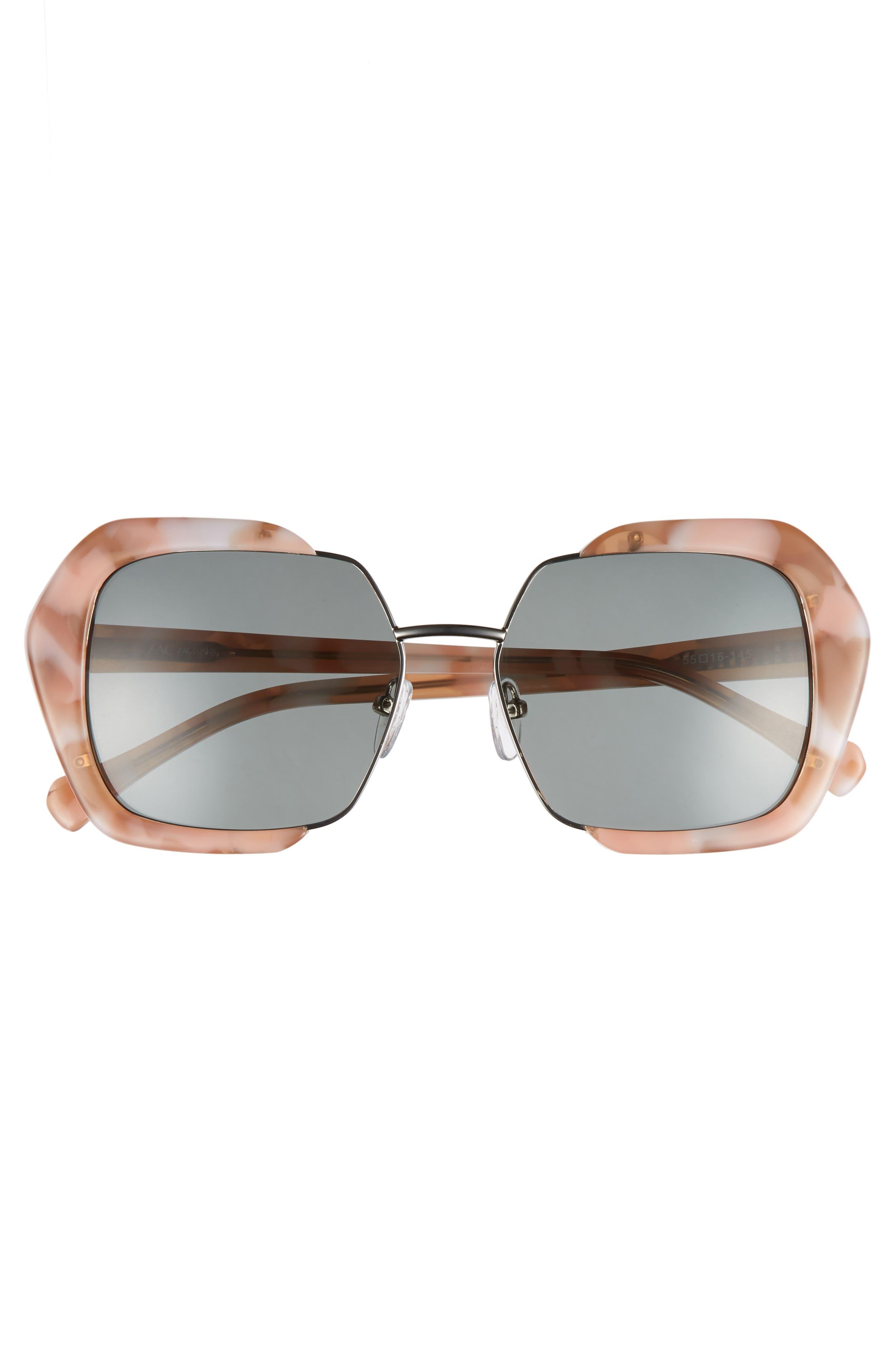 Isleen 55mm Polarized Sunglasses,                             Alternate thumbnail 3, color,                             Pink/ Tortoise/ Gold