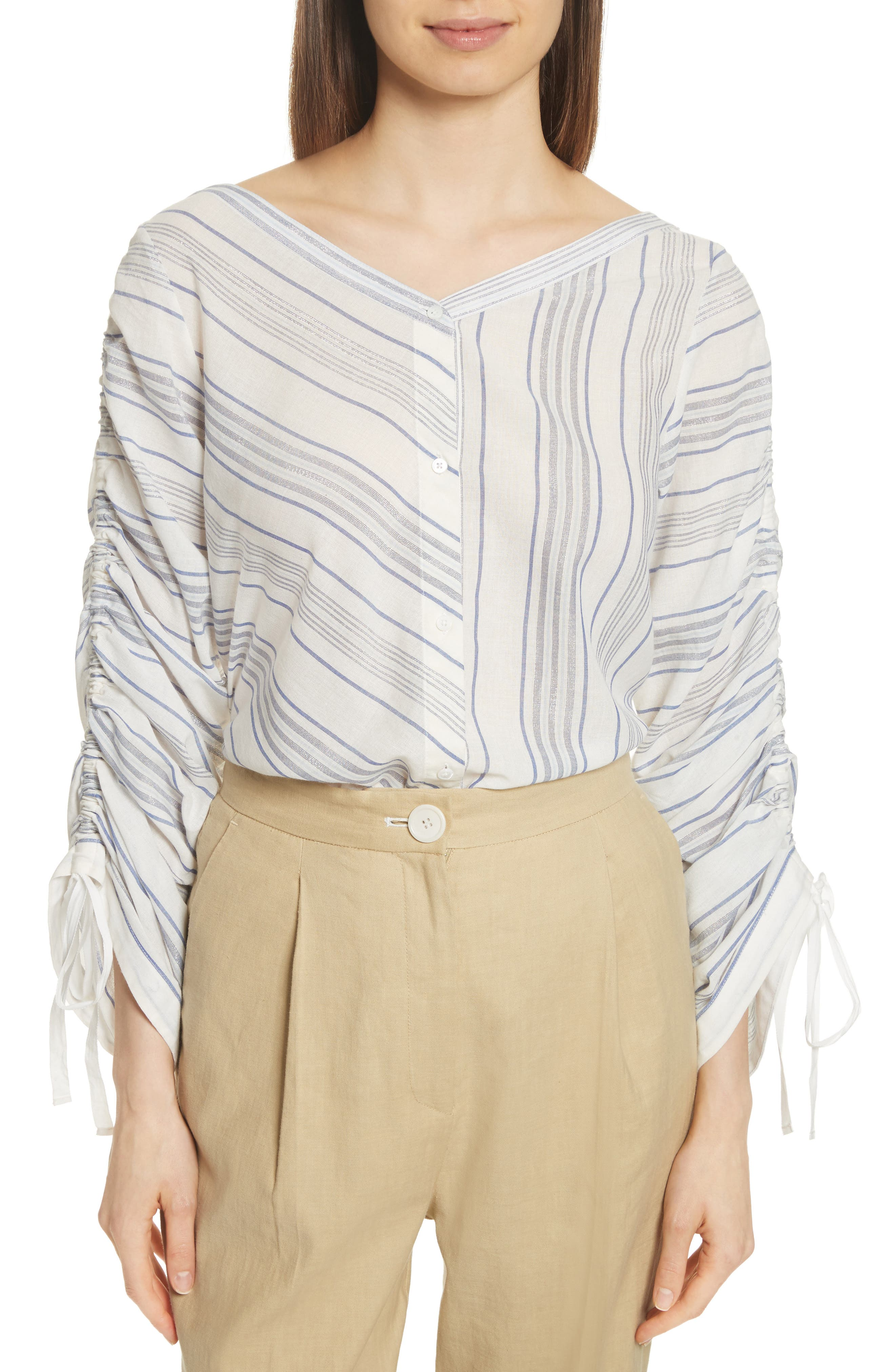 Robert Rodriguez Ruched Sleeve Stripe Shirt