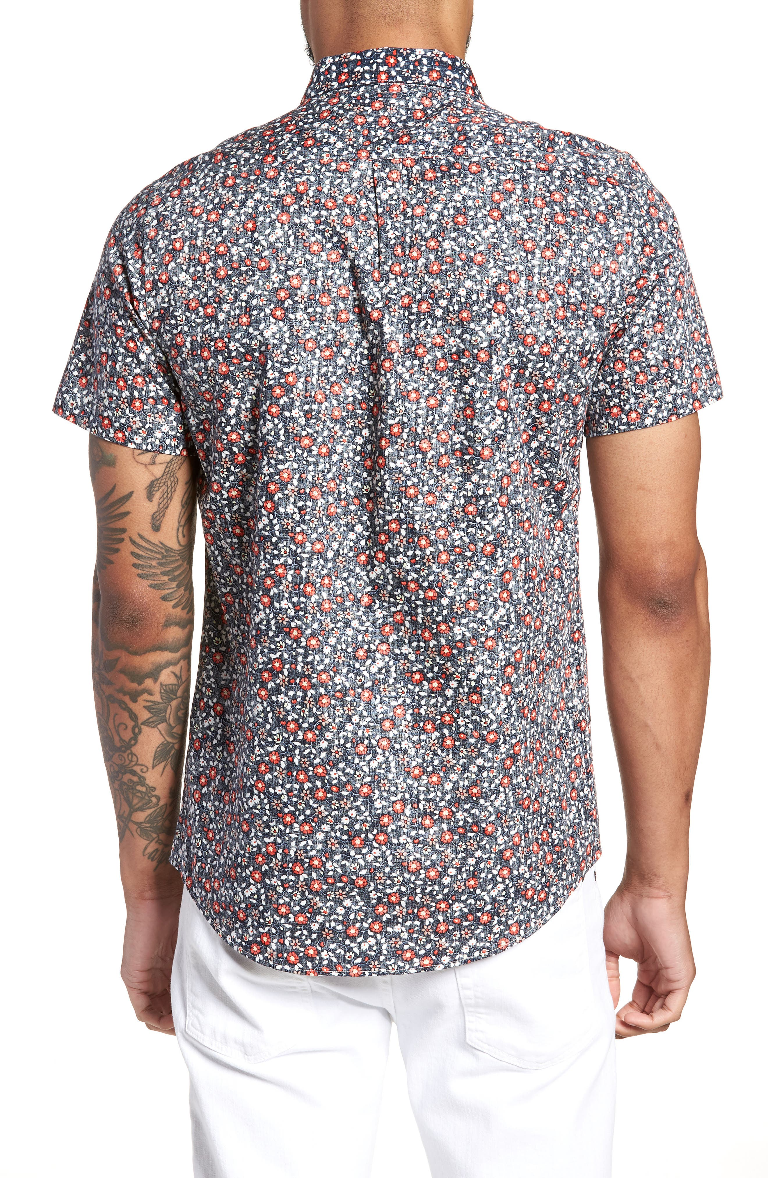 Trim Fit Print Woven Short Sleeve Shirt,                             Alternate thumbnail 2, color,                             Navy Floral