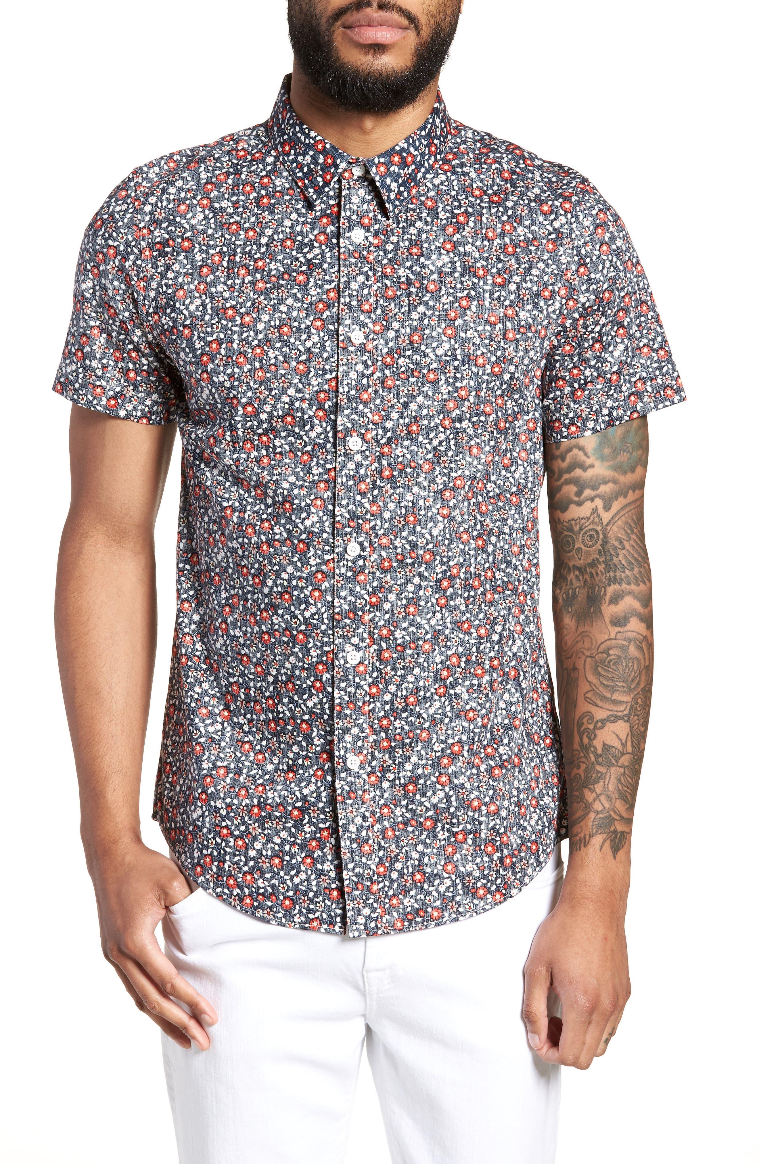 Trim Fit Print Woven Short Sleeve Shirt,                         Main,                         color, Navy Floral