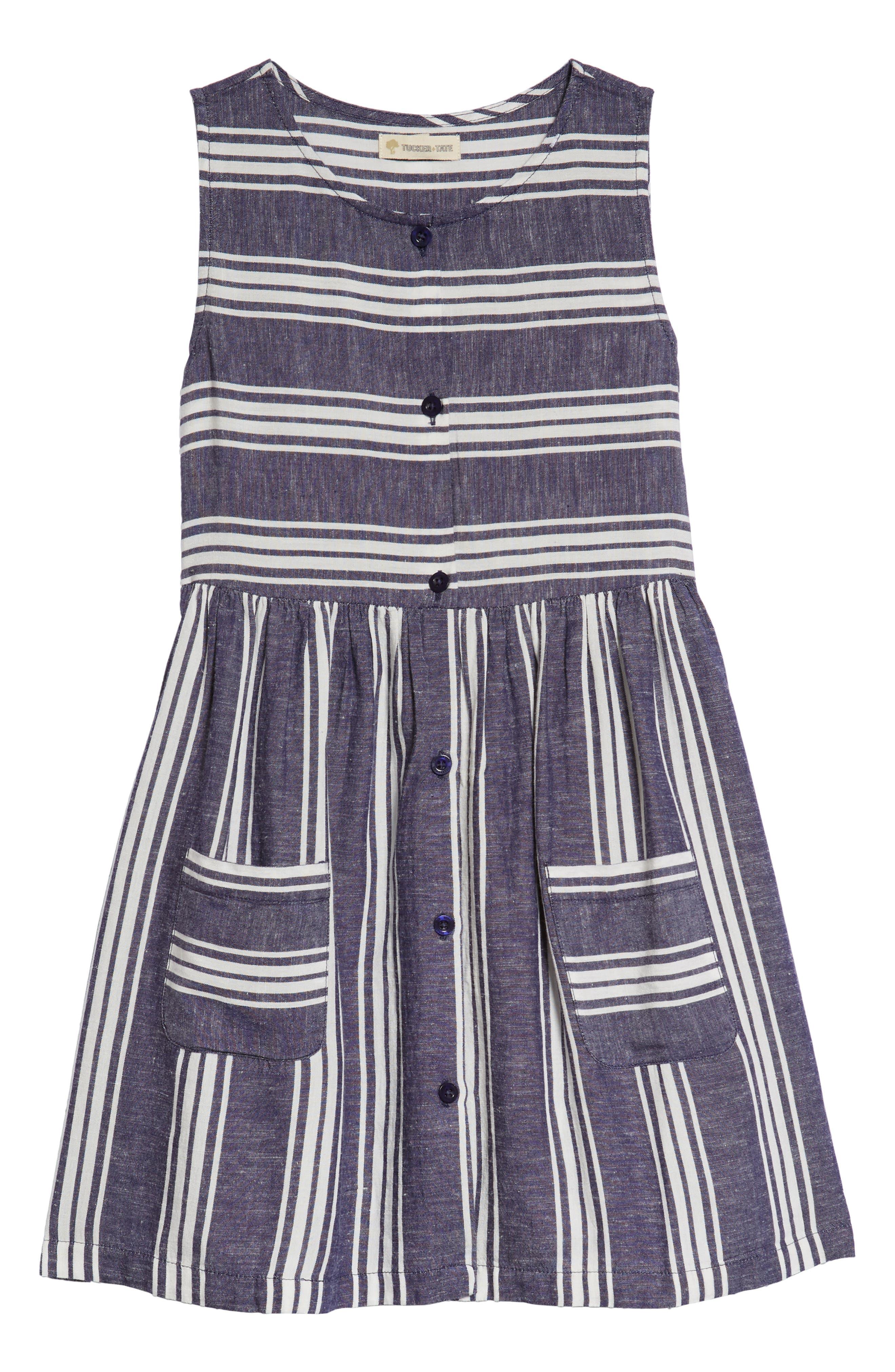 Stripe Fit & Flare Dress,                         Main,                         color, Ivory Egret- Navy Stripe