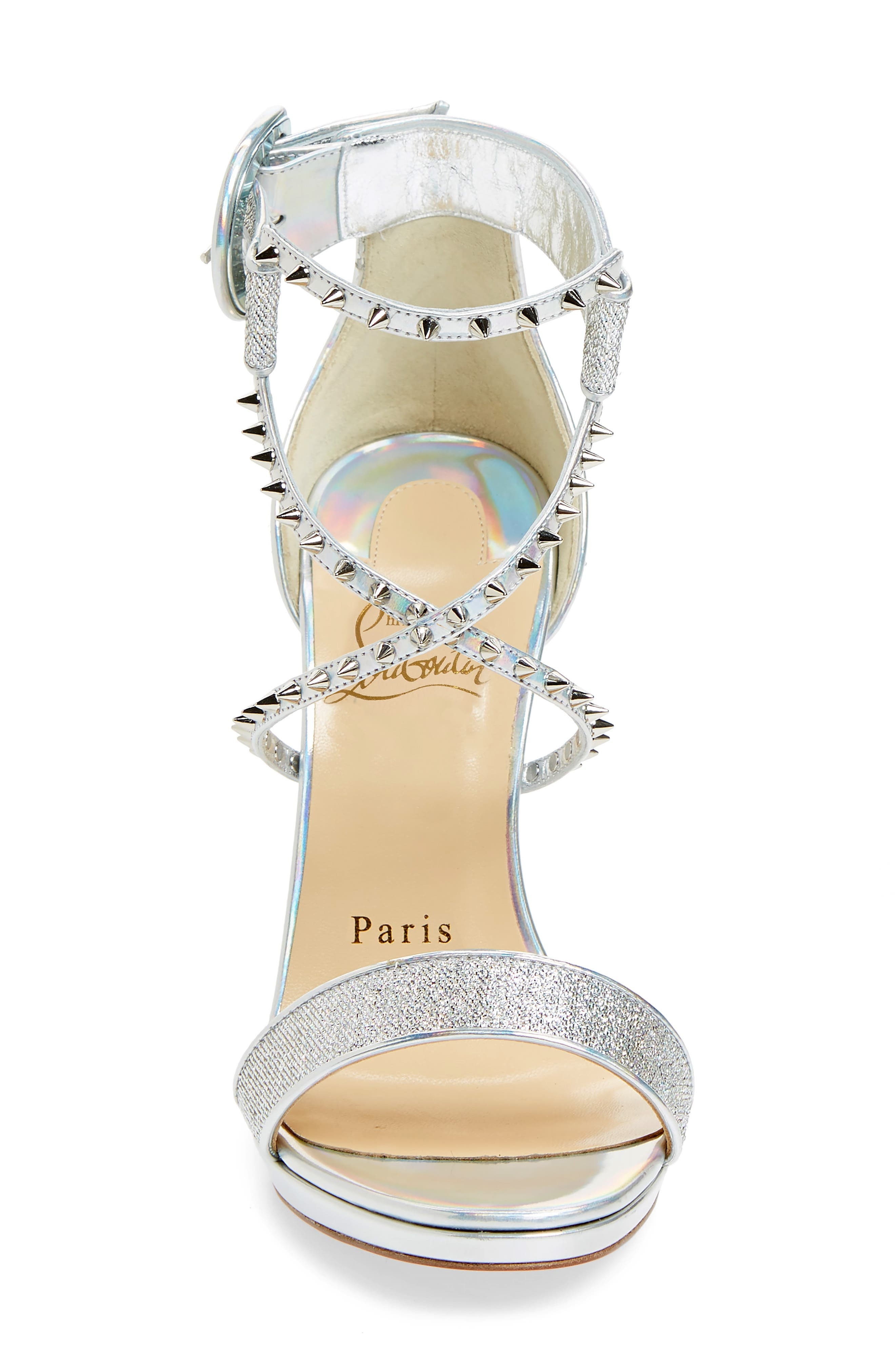 Choca Lux Spiked Sandal,                             Alternate thumbnail 4, color,                             Silver