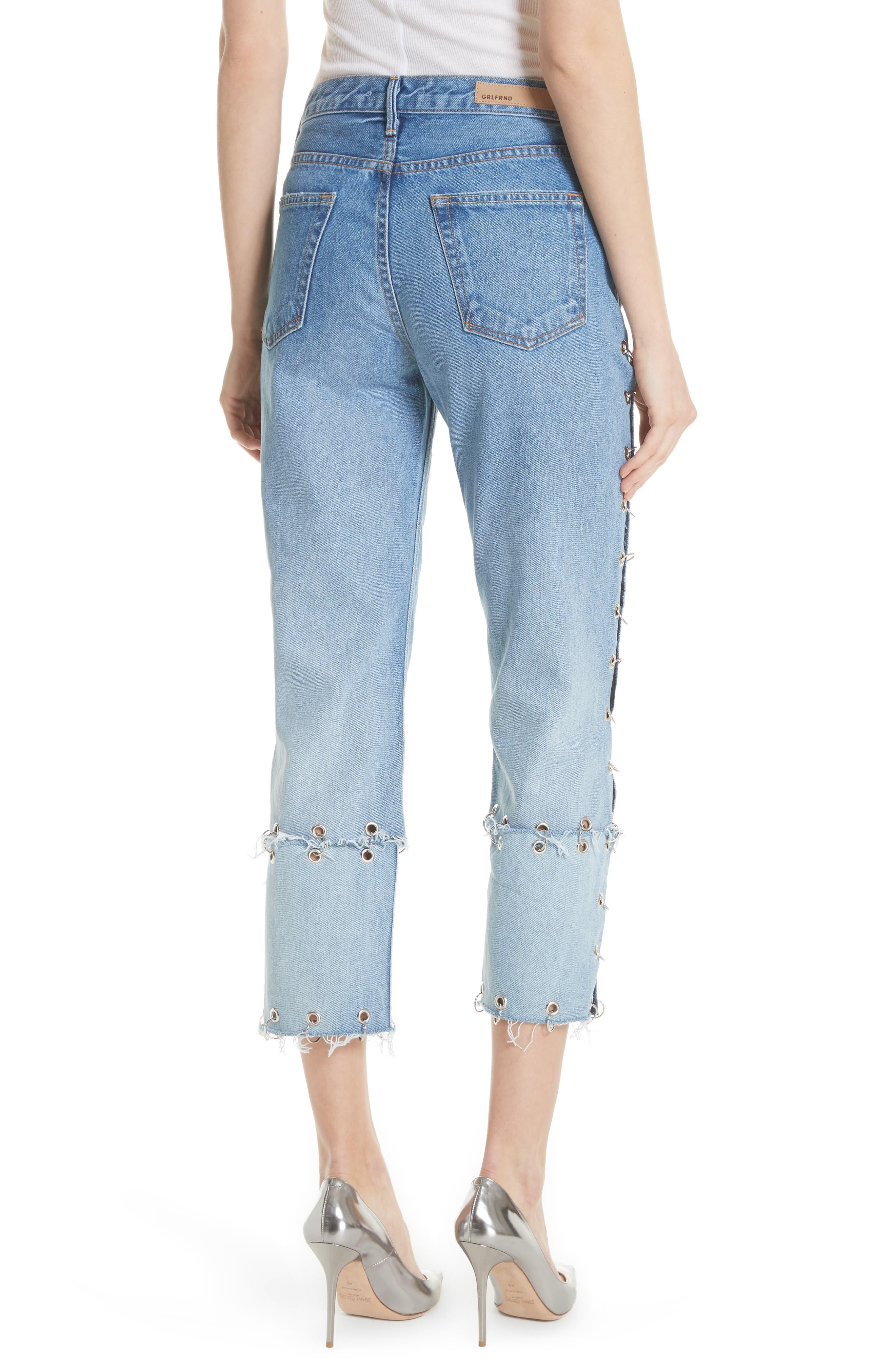 Helena Grommet Detail Straight Leg Crop Jeans,                             Alternate thumbnail 2, color,                             Blue