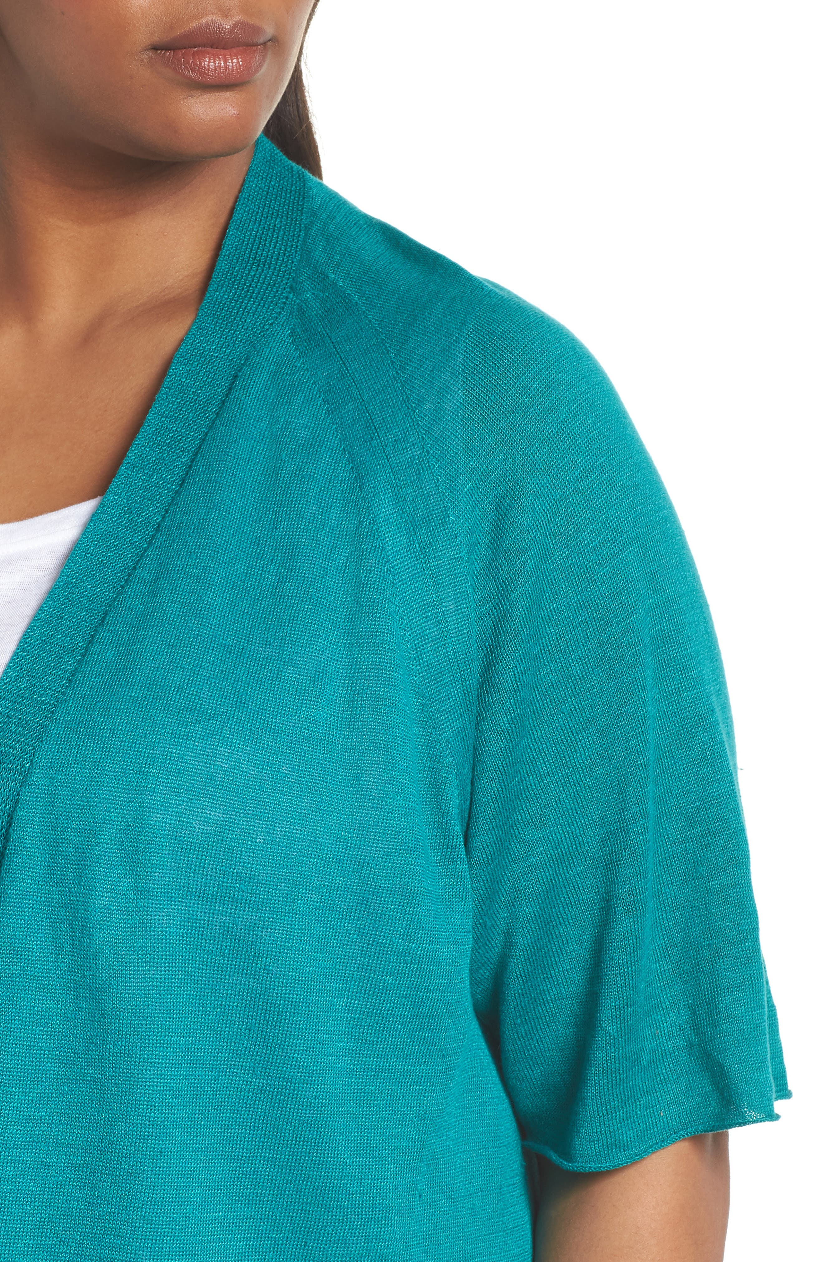 Organic Linen Cardigan,                             Alternate thumbnail 4, color,                             Turquoise