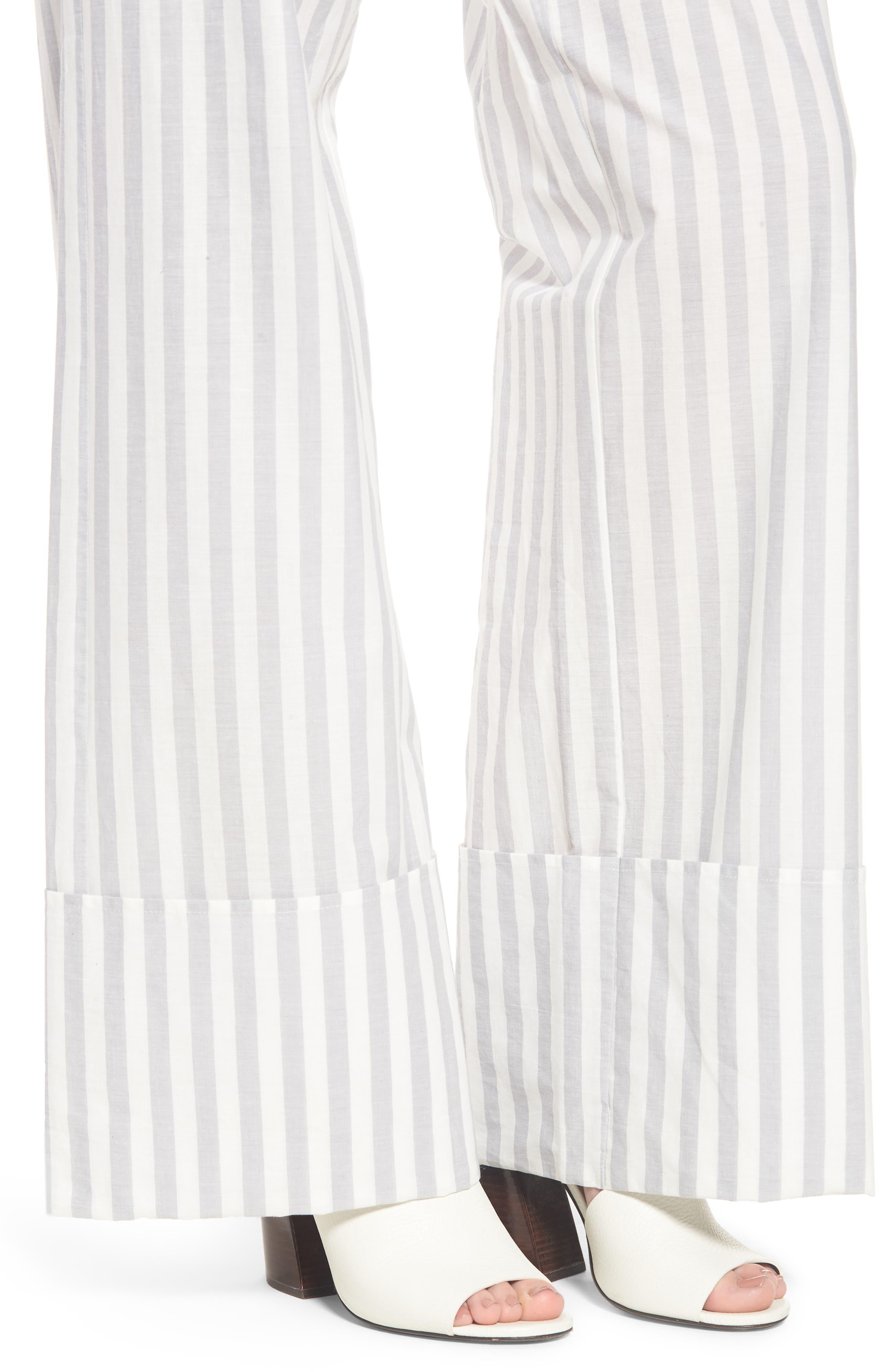 Wide Turn Up Stripe Trouser,                             Alternate thumbnail 6, color,                             Light Grey