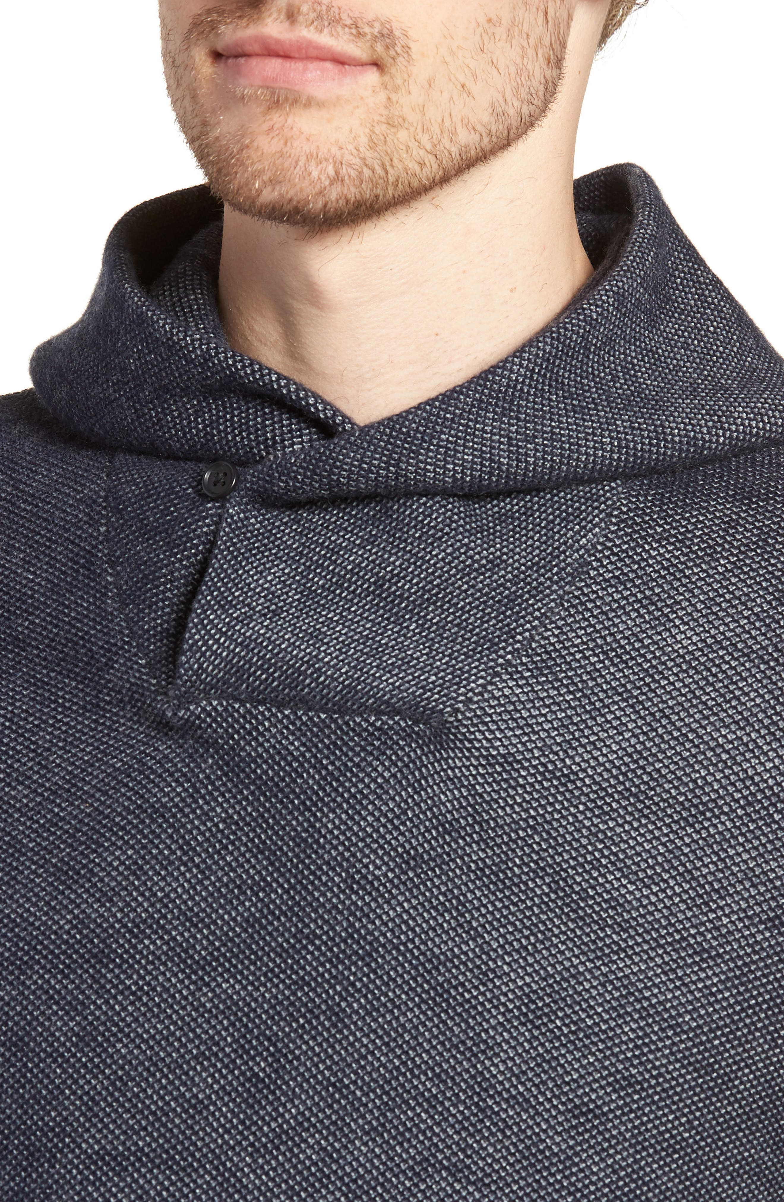 Cotton & Cashmere Hoodie,                             Alternate thumbnail 4, color,                             Midnight Blue/ Heather Silver