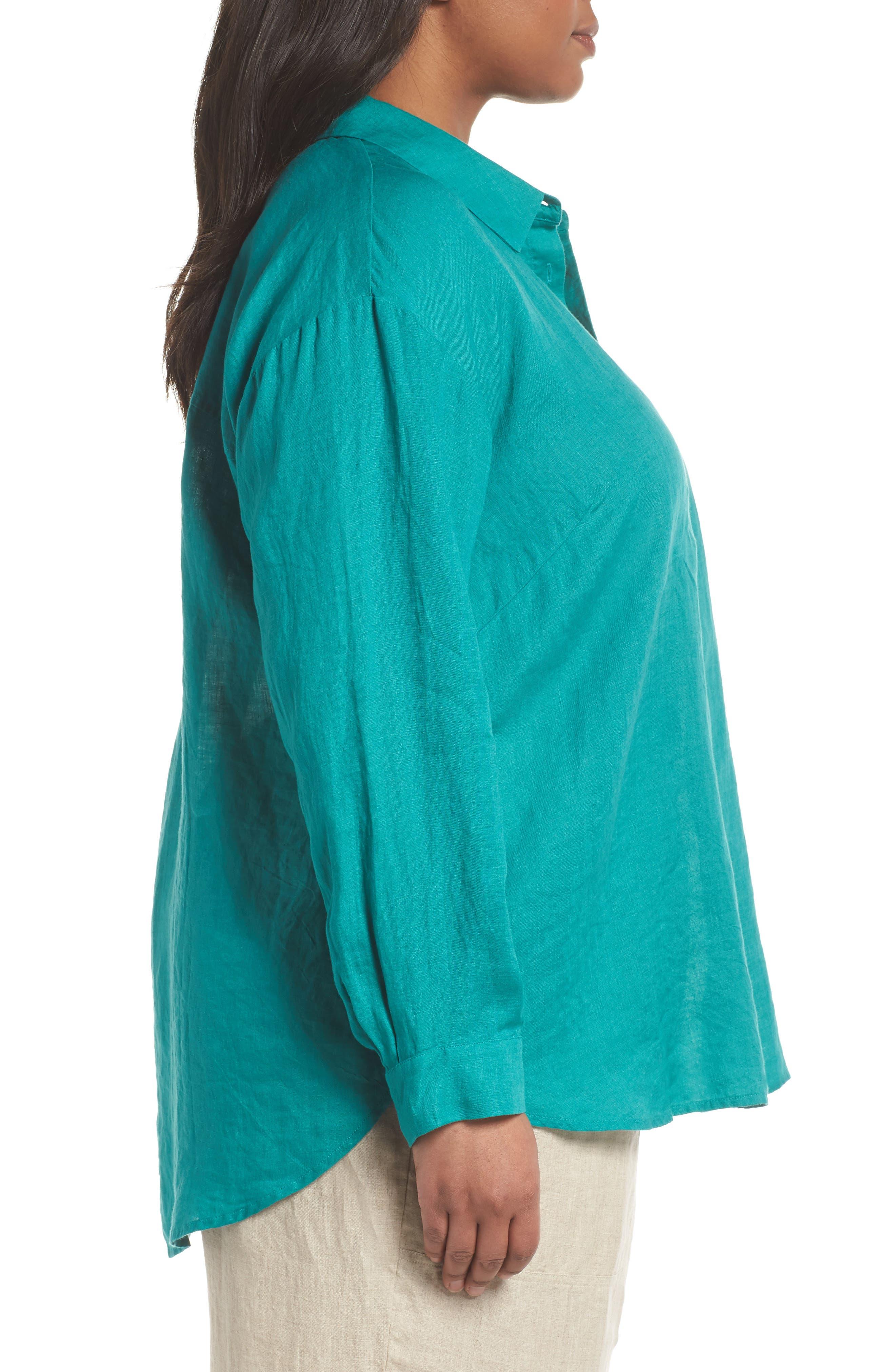 Organic Linen Shirt,                             Alternate thumbnail 3, color,                             Turquoise