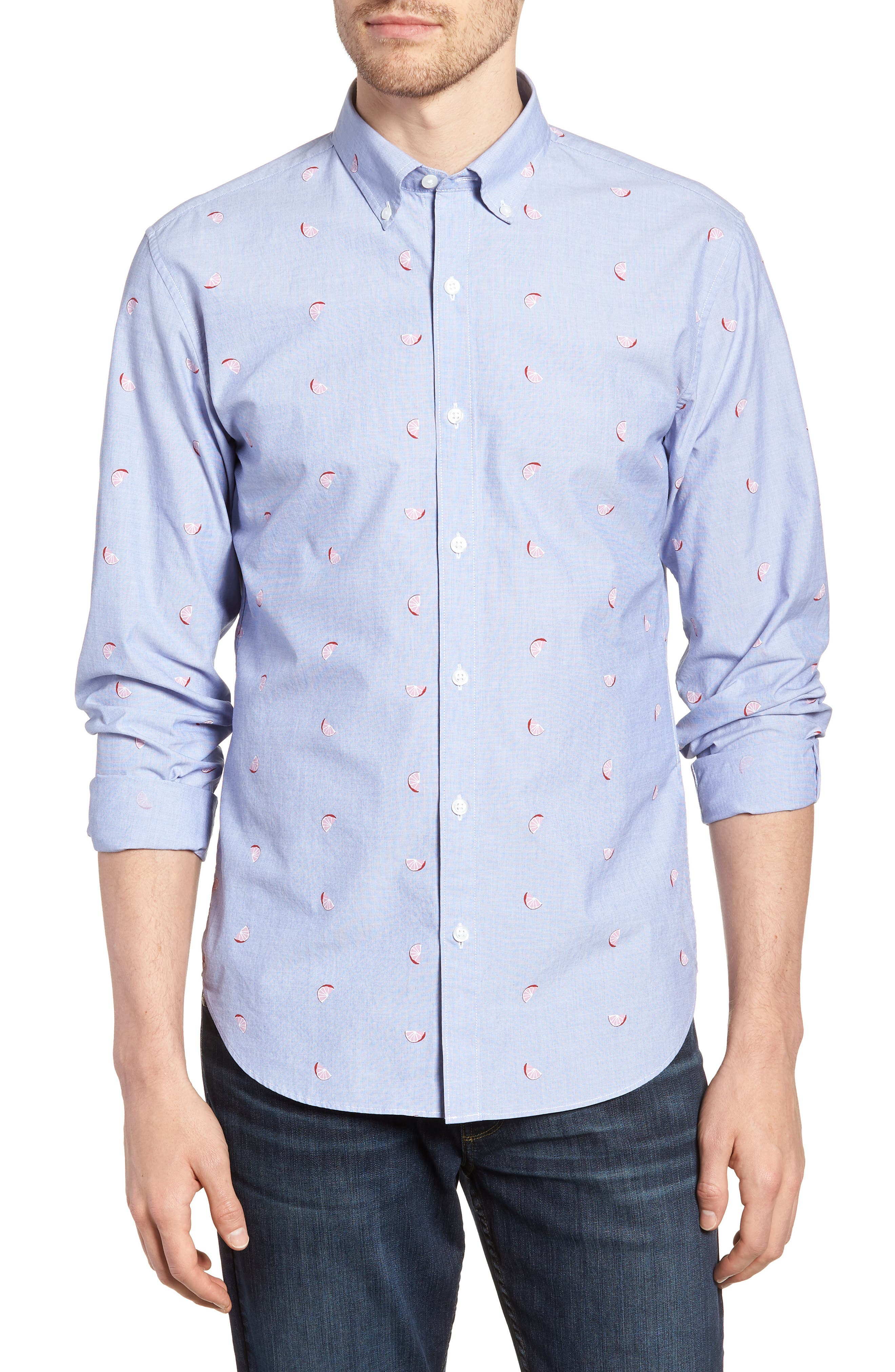 Slim Fit Print Sport Shirt,                         Main,                         color, Lemon Toss