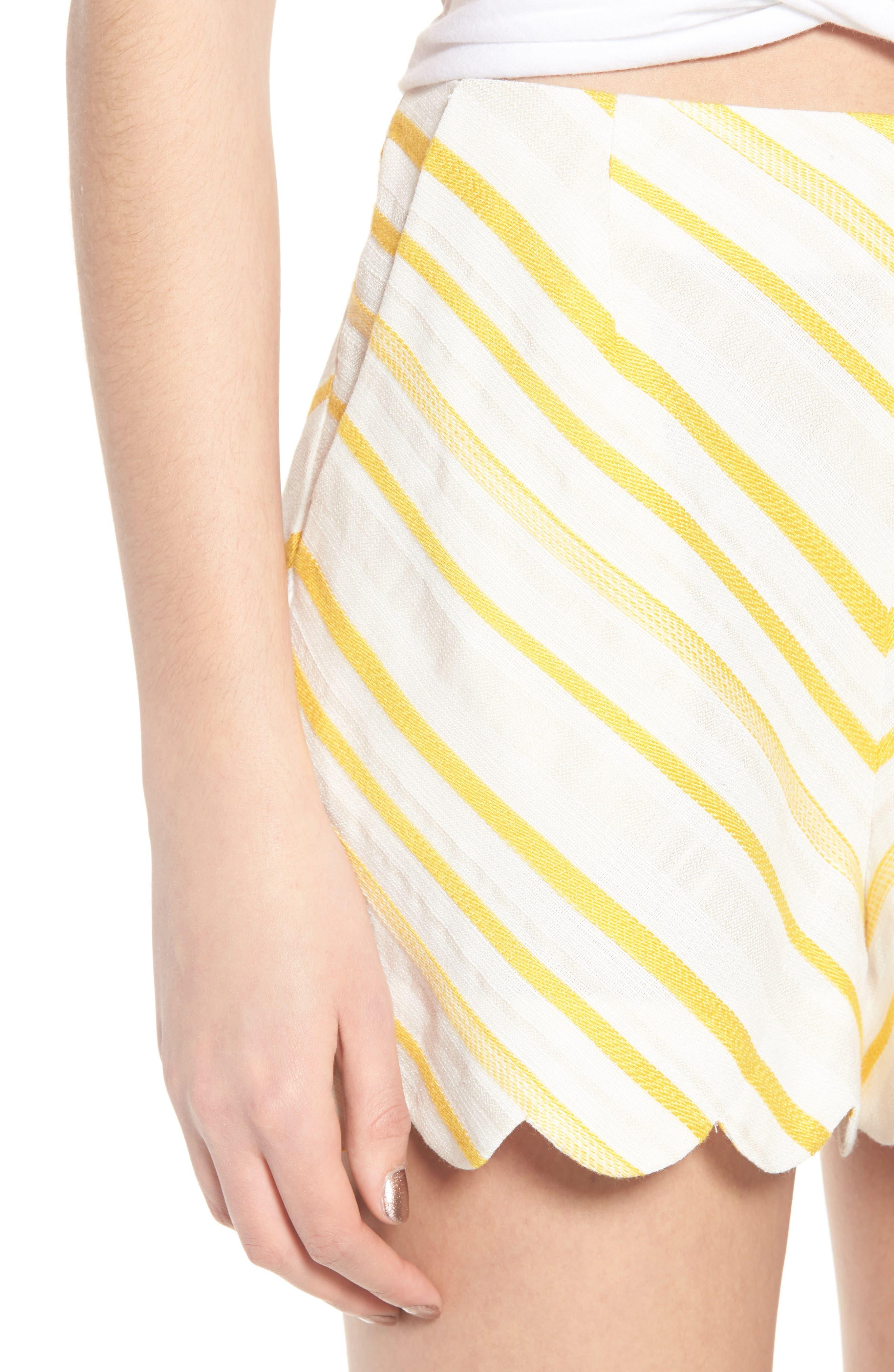 Scallop Shorts,                             Alternate thumbnail 4, color,                             Cream Yellow