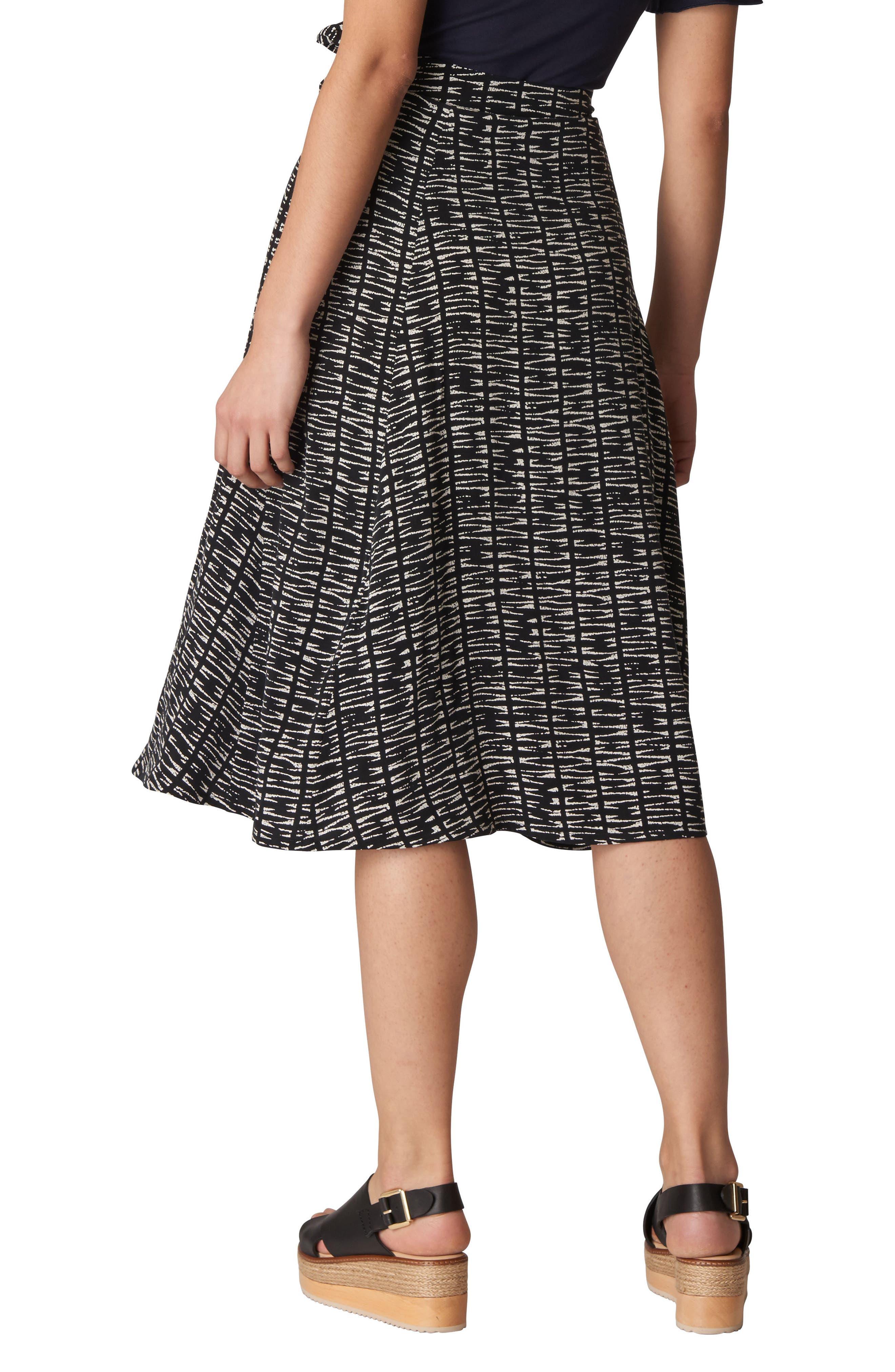 Avie Sahara Print Wrap Skirt,                             Alternate thumbnail 2, color,                             Black/ Multi