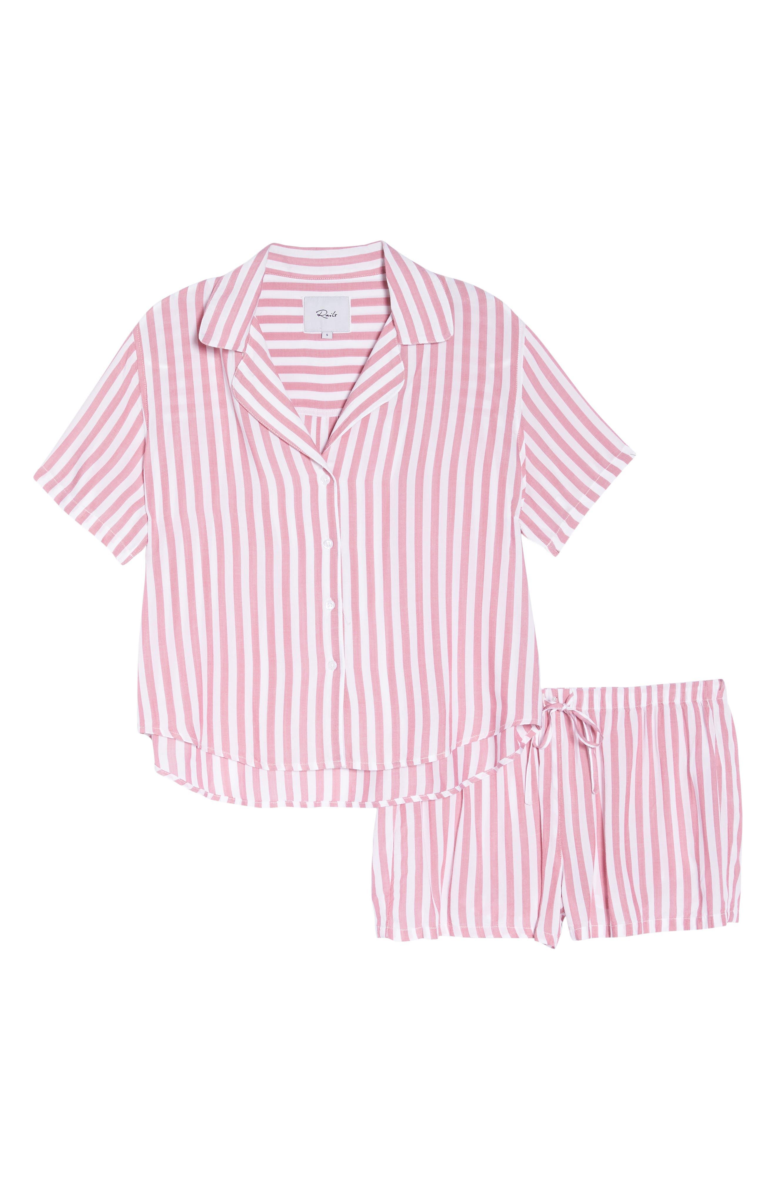 Stripe Short Pajamas,                             Alternate thumbnail 4, color,                             Garnet White