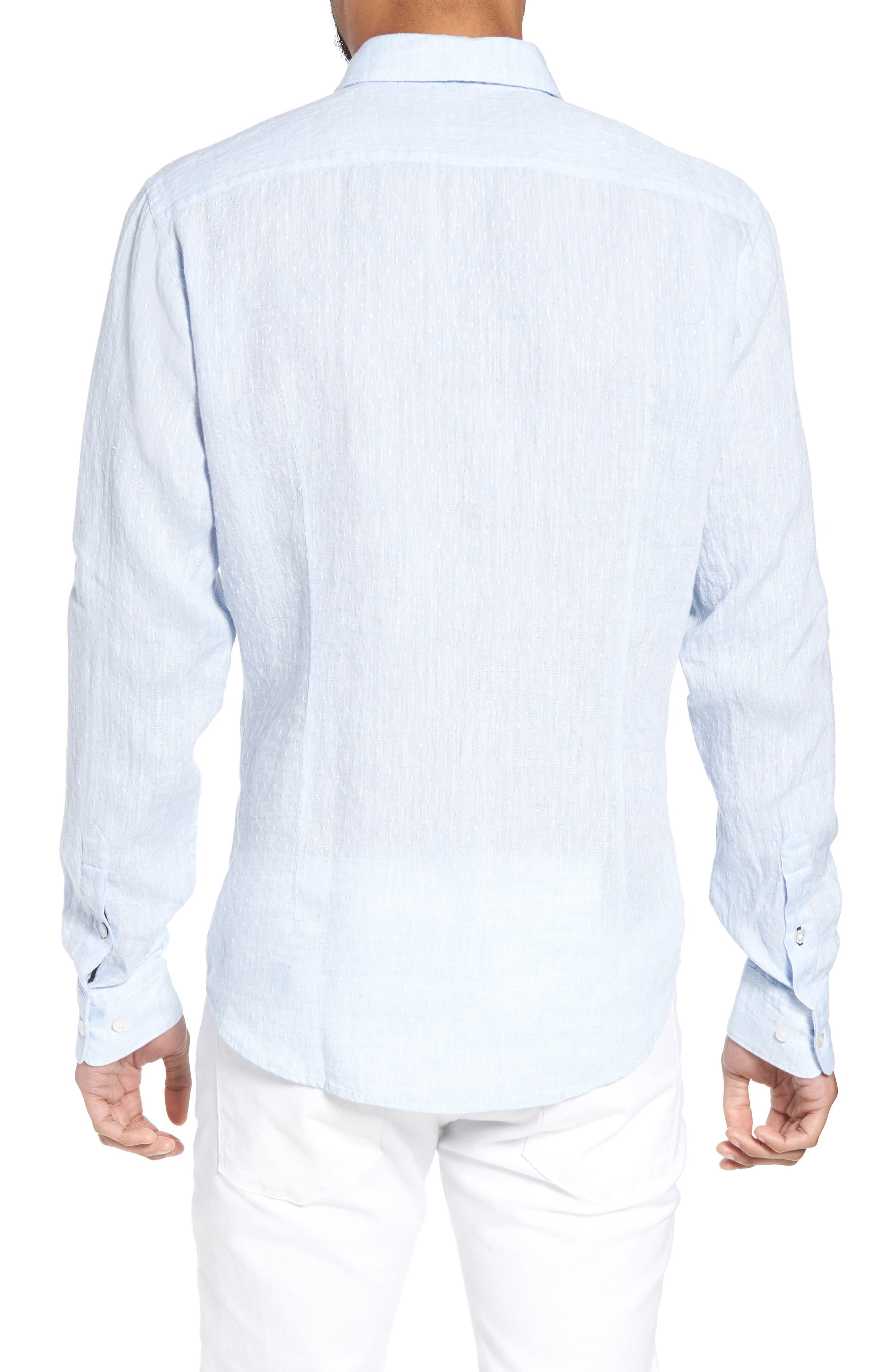 Ronni Slim Fit Dobby Linen Sport Shirt,                             Alternate thumbnail 3, color,                             Blue