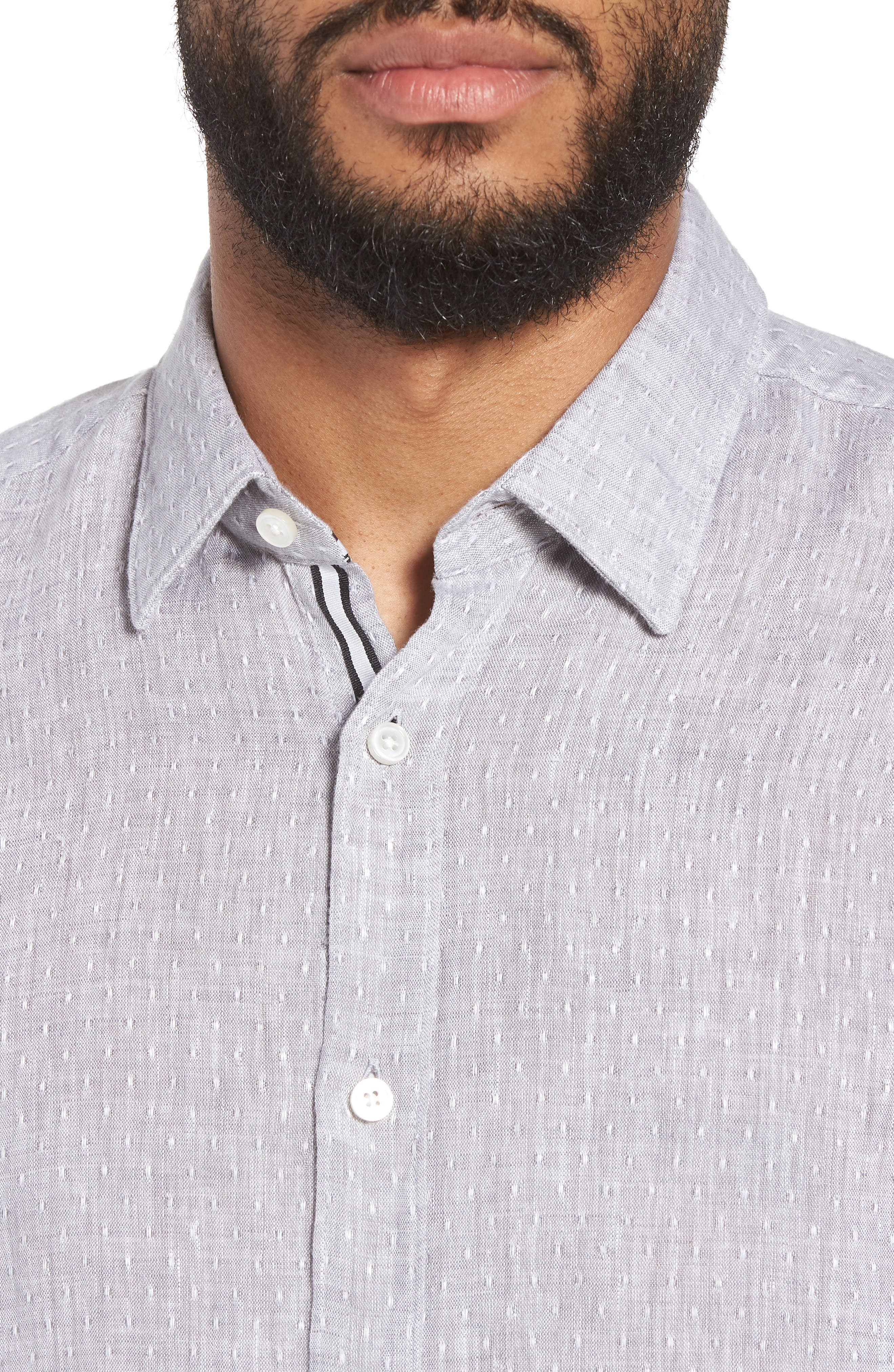 Ronni Slim Fit Dobby Linen Sport Shirt,                             Alternate thumbnail 2, color,                             Grey