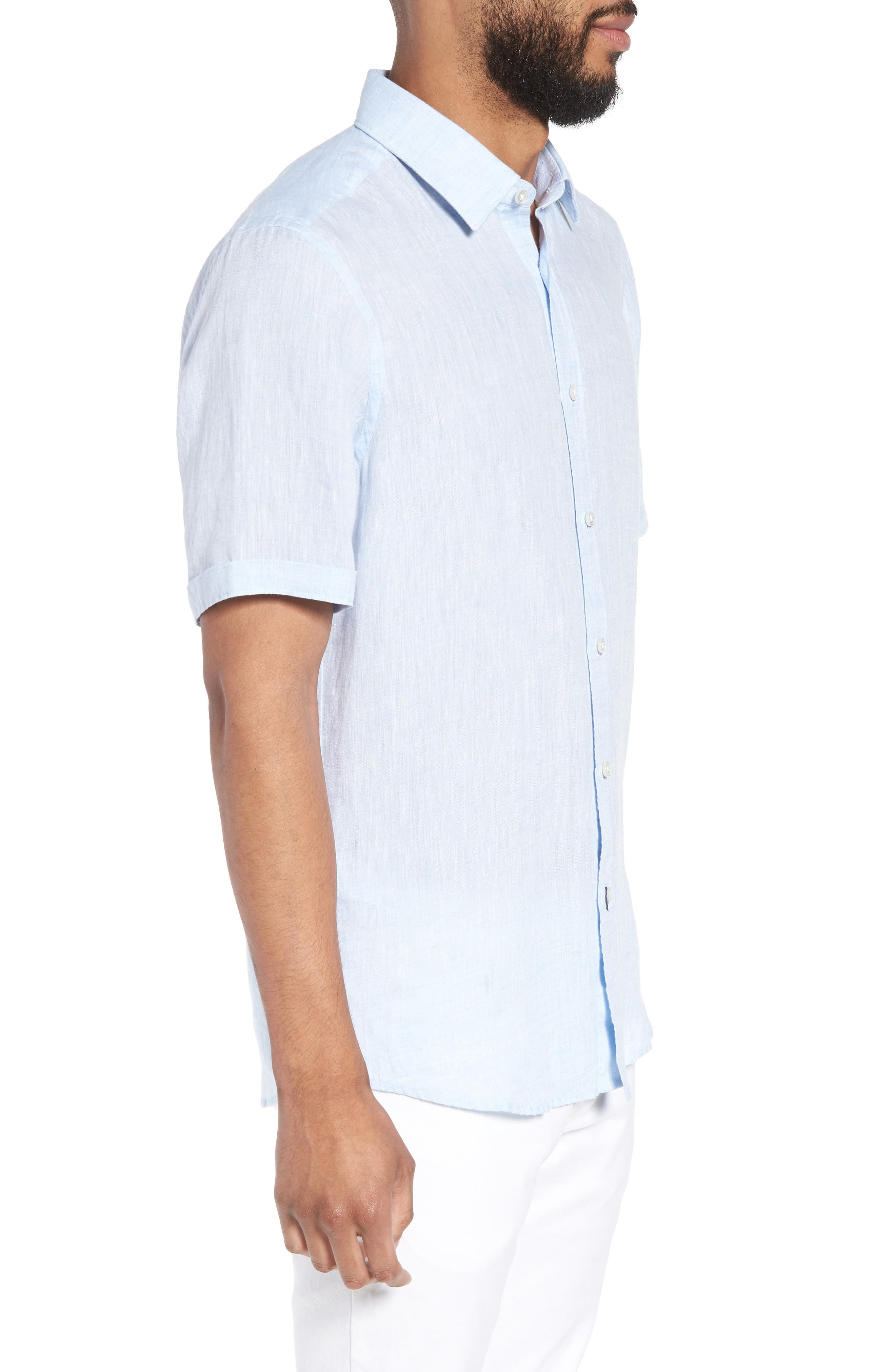 Luka Slim Fit Sport Shirt,                             Alternate thumbnail 4, color,                             Blue