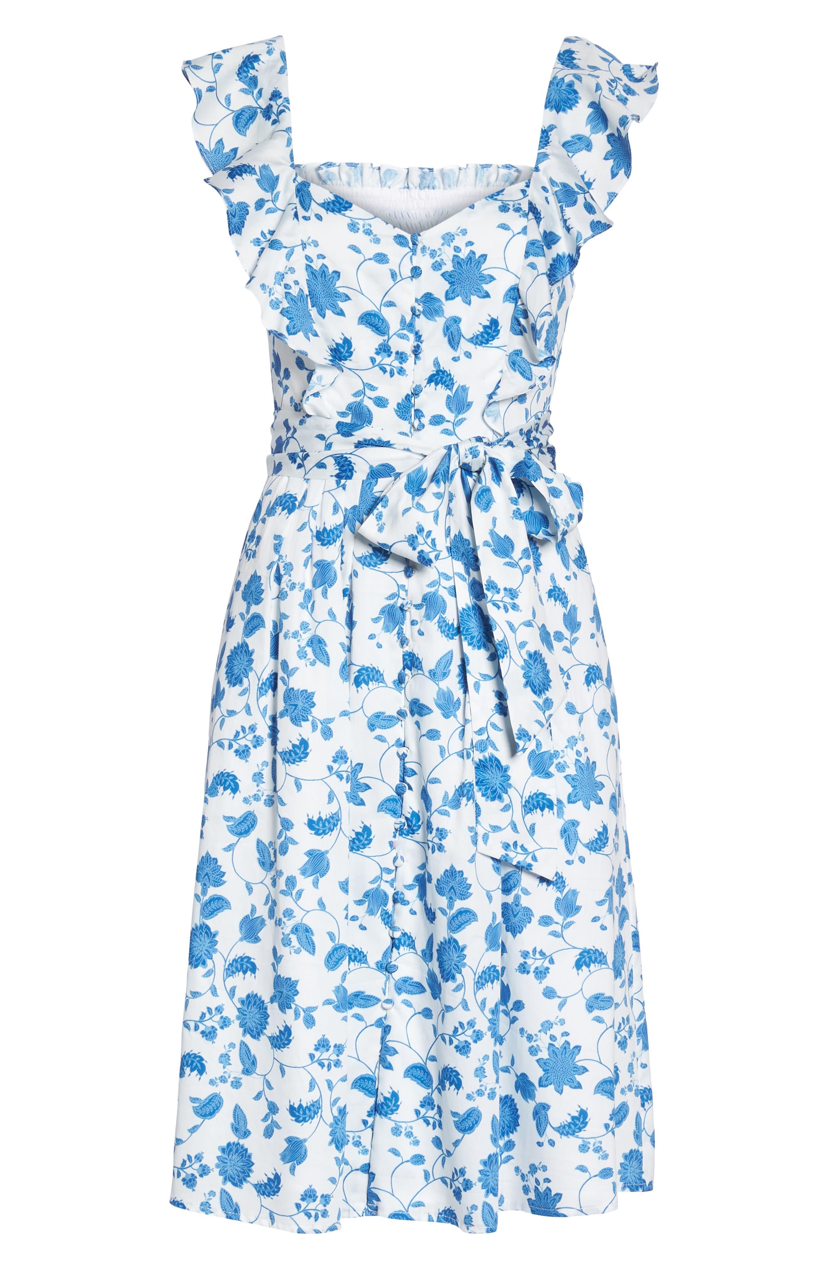 Olivia Floral Wallpaper Print Fit & Flare Dress,                             Alternate thumbnail 8, color,                             Cloud/ Blue